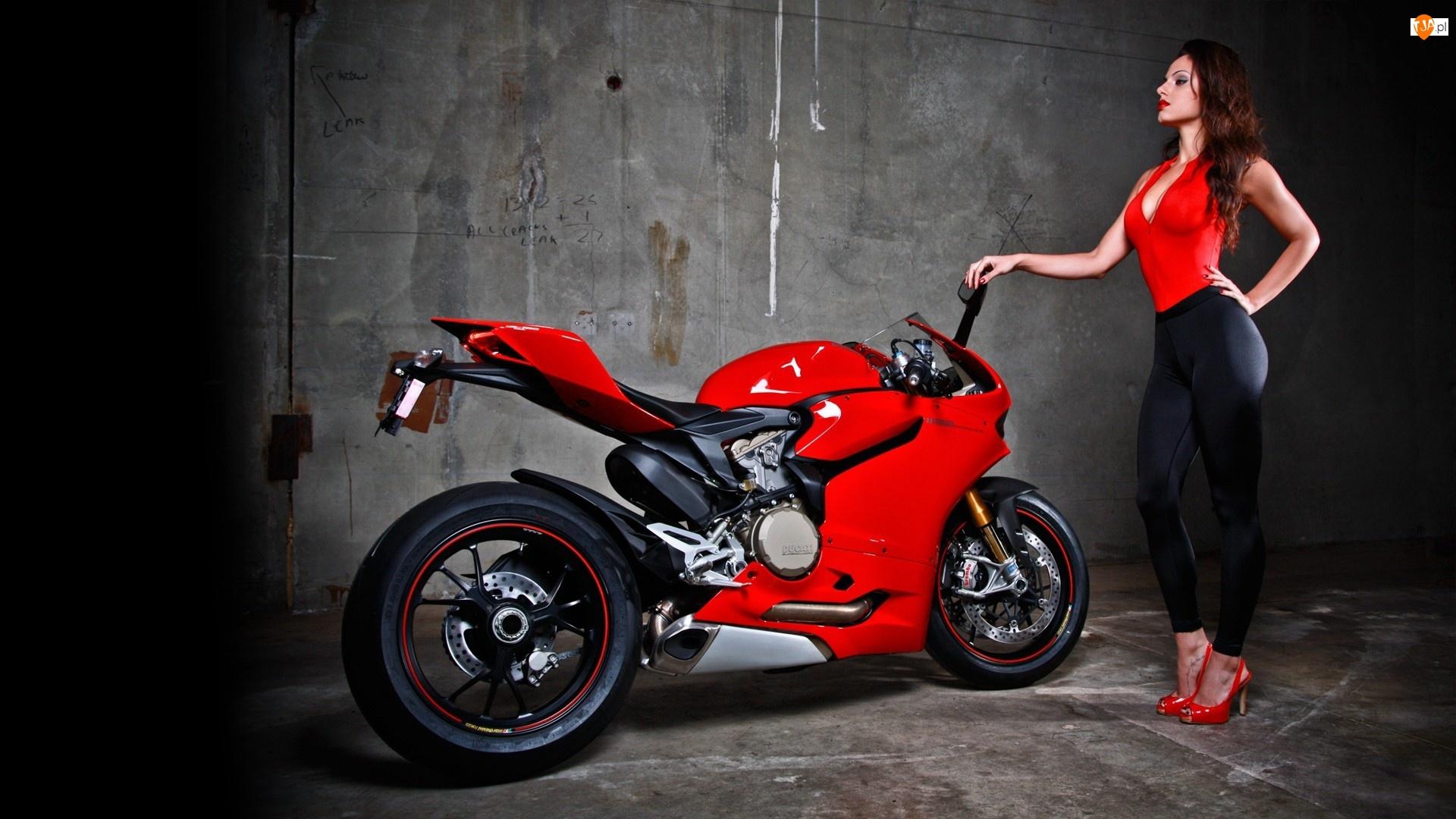 Kobieta, Czerwony, Motor, Ducati, Modelka, Sportowy, Ścigacz