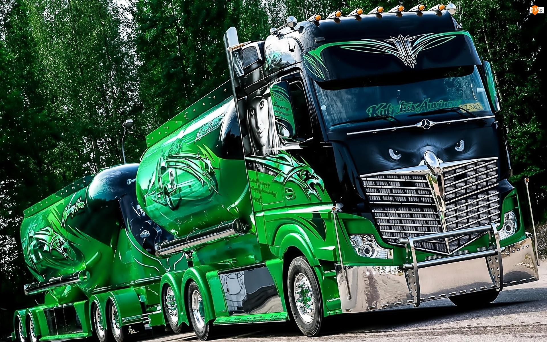 Ciężarówka, Cysterna, Mercedes Benz, Przyczepa