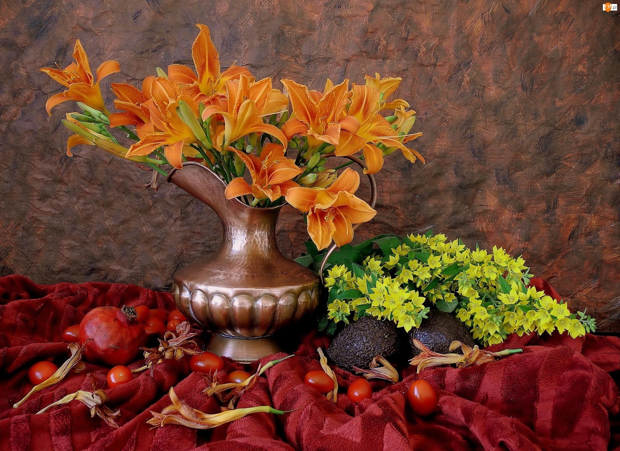 Bukiet, Kwiaty, Granat, Flakon, Pomidory