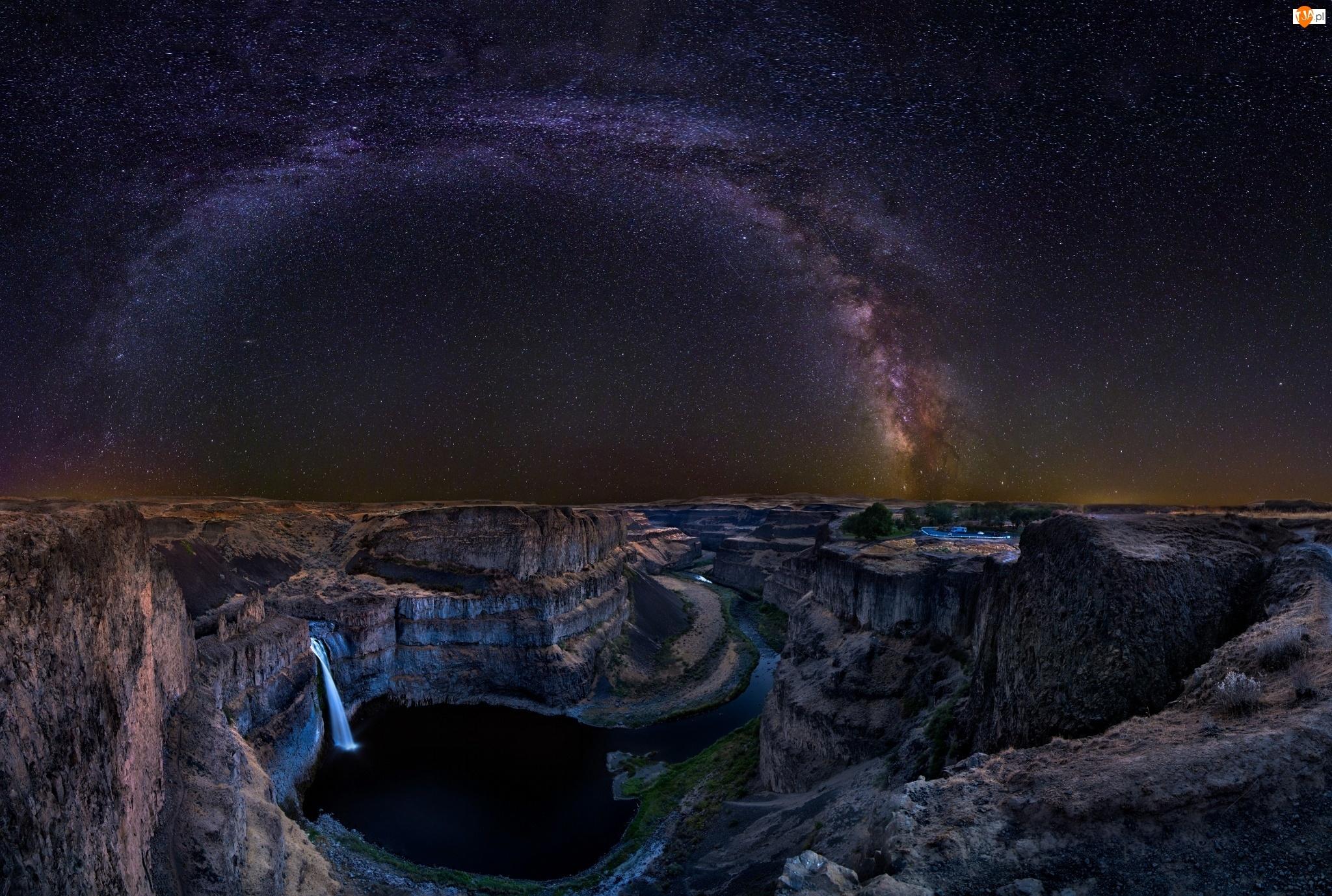 Rzeka, Mleczna, Kanion, Gwiazdy, Wodospad, Droga