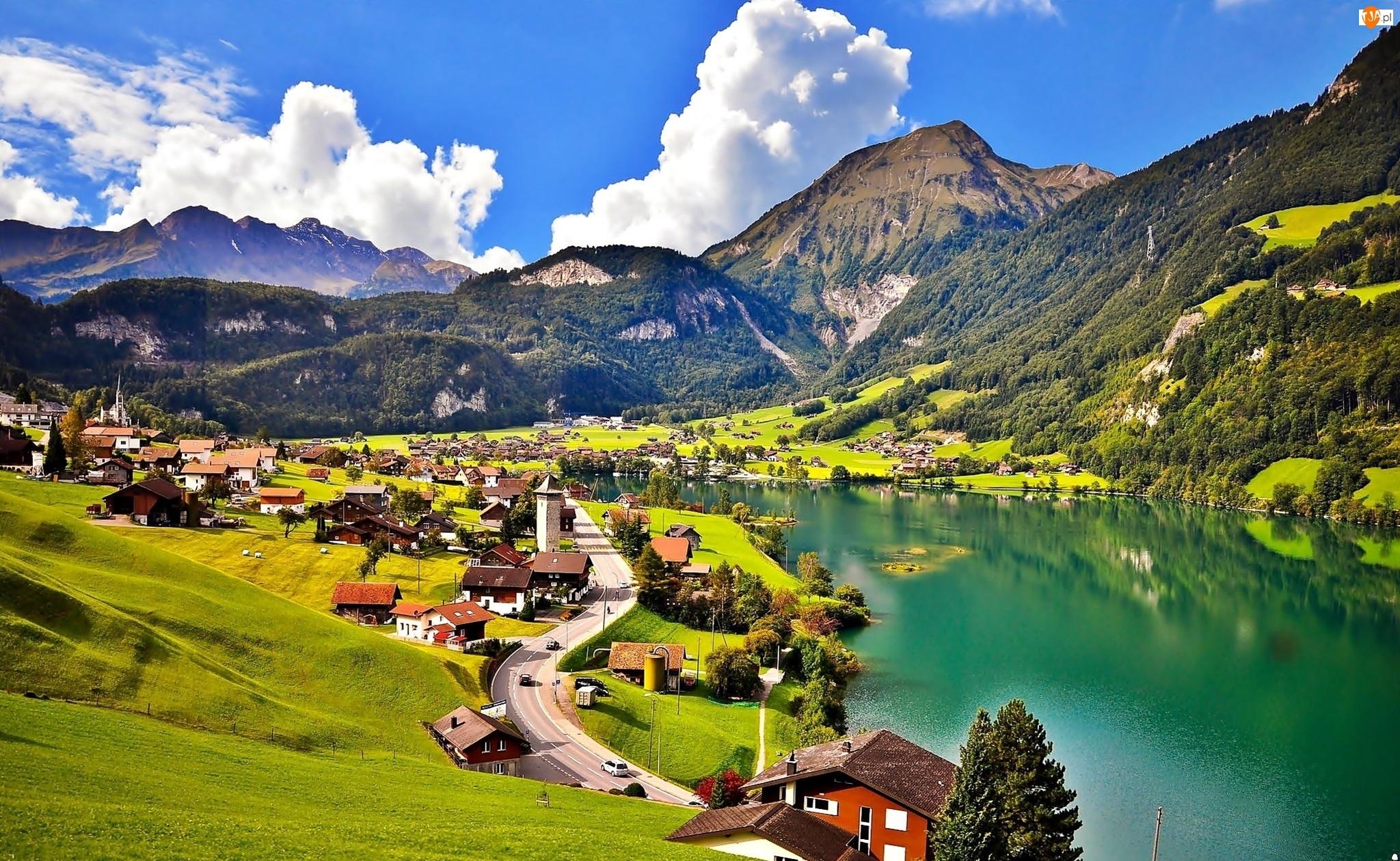 Wioska, Góry, Jezioro, Alpy, Dolina