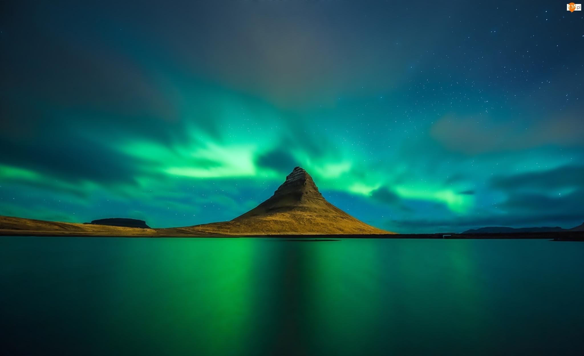 Góry, Islandia, Morze, Zorza Polarna