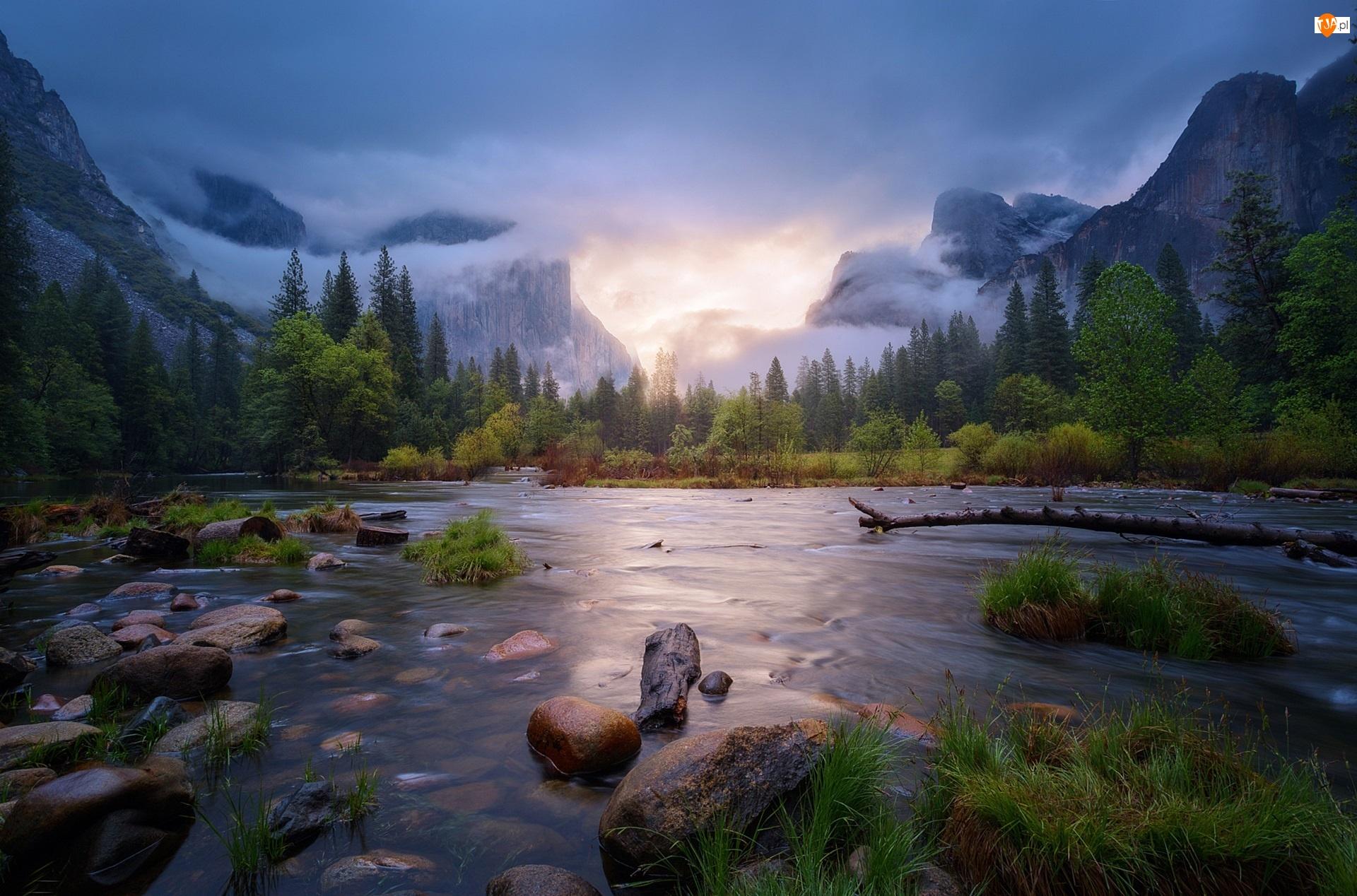 Park Narodowy Yosemite, Rzeka, USA, Góry, Kalifornia, Wiosna