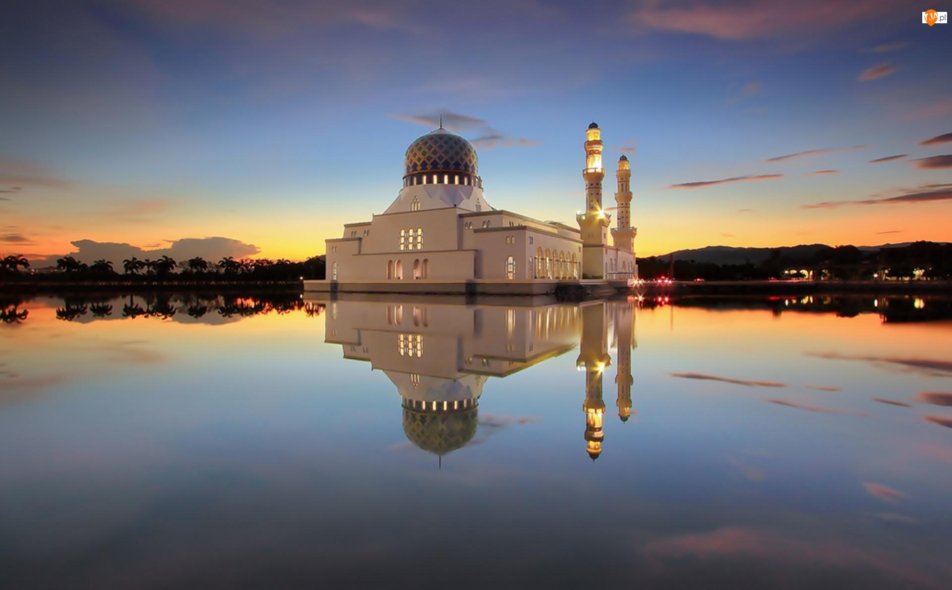 Meczet, Zachód Słońca, Woda