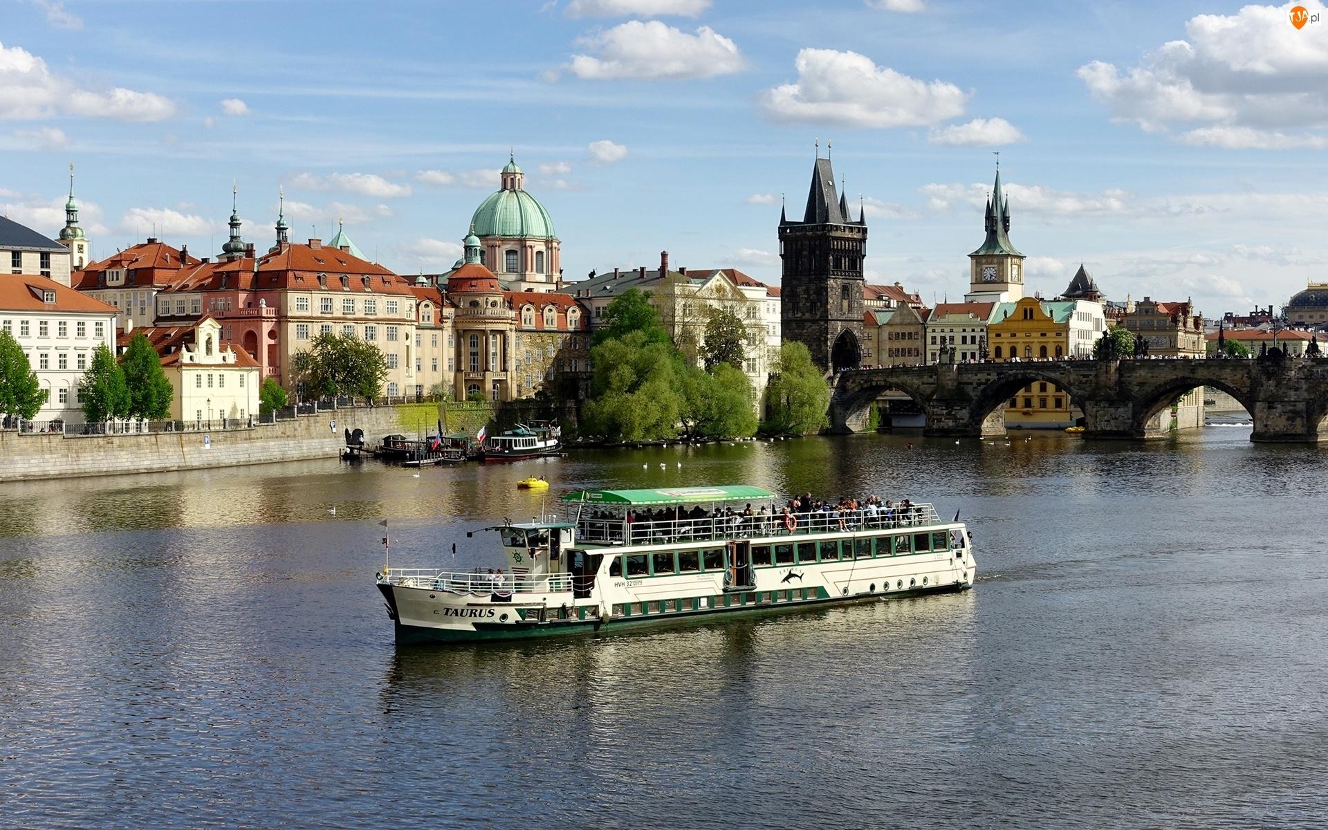 Budynki, Rzeka, Statek, Most, Wycieczkowy
