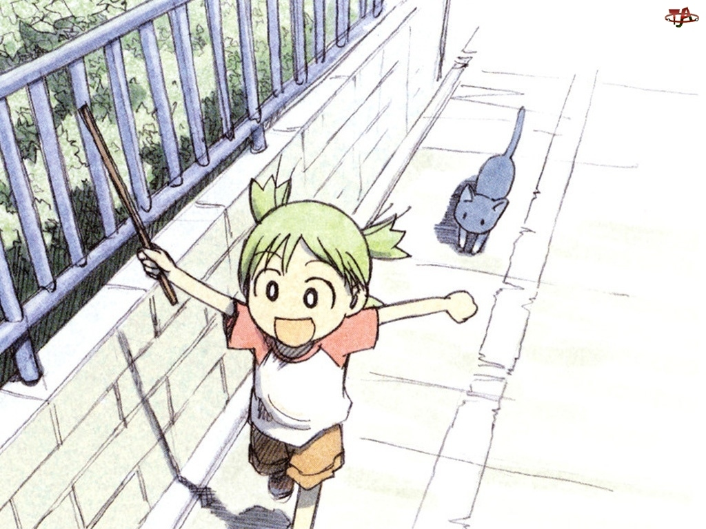 płot, Yotsubato, dziecko, kot