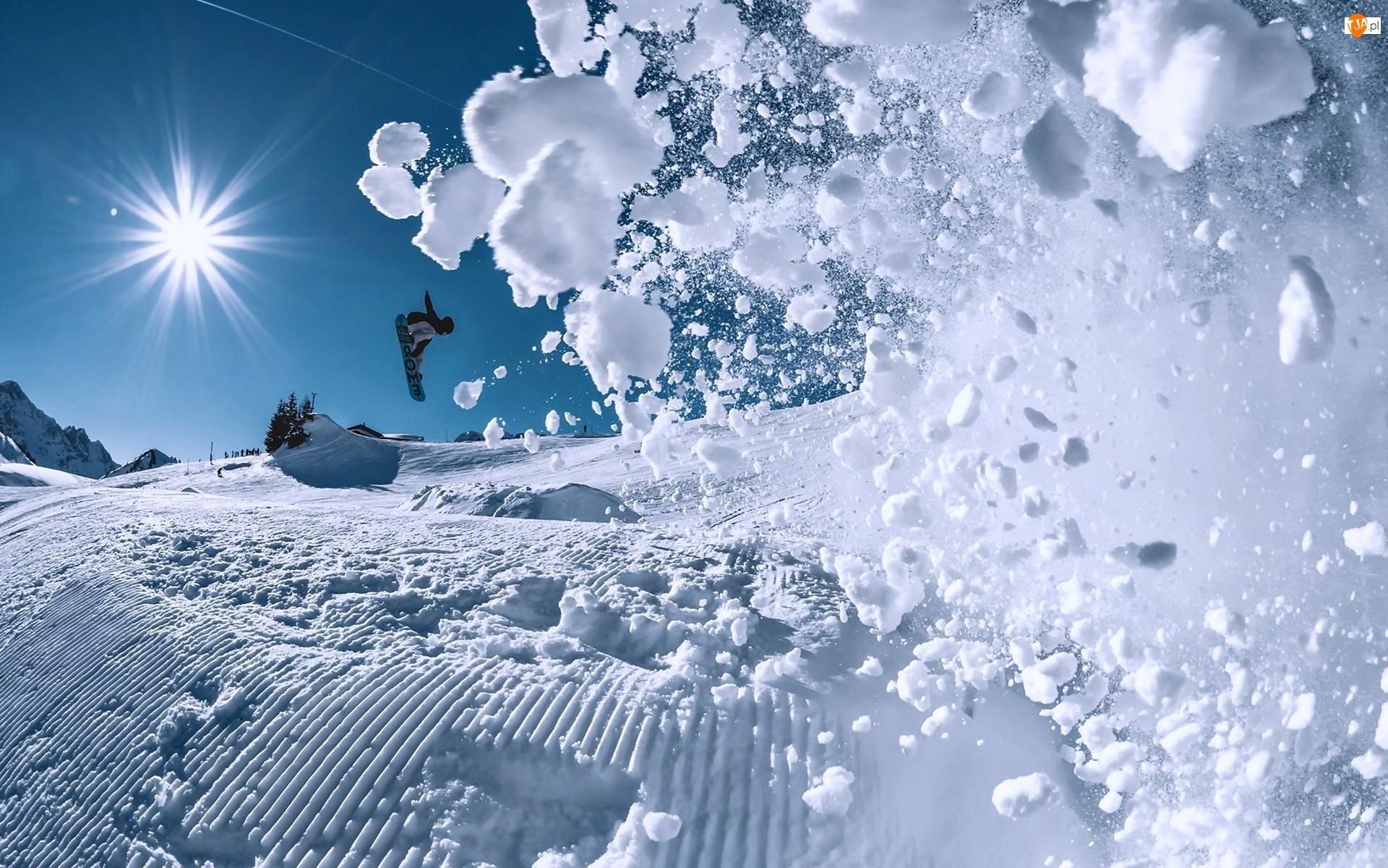 Snowbording, Zima, Promienie, Śnieg, Słońca