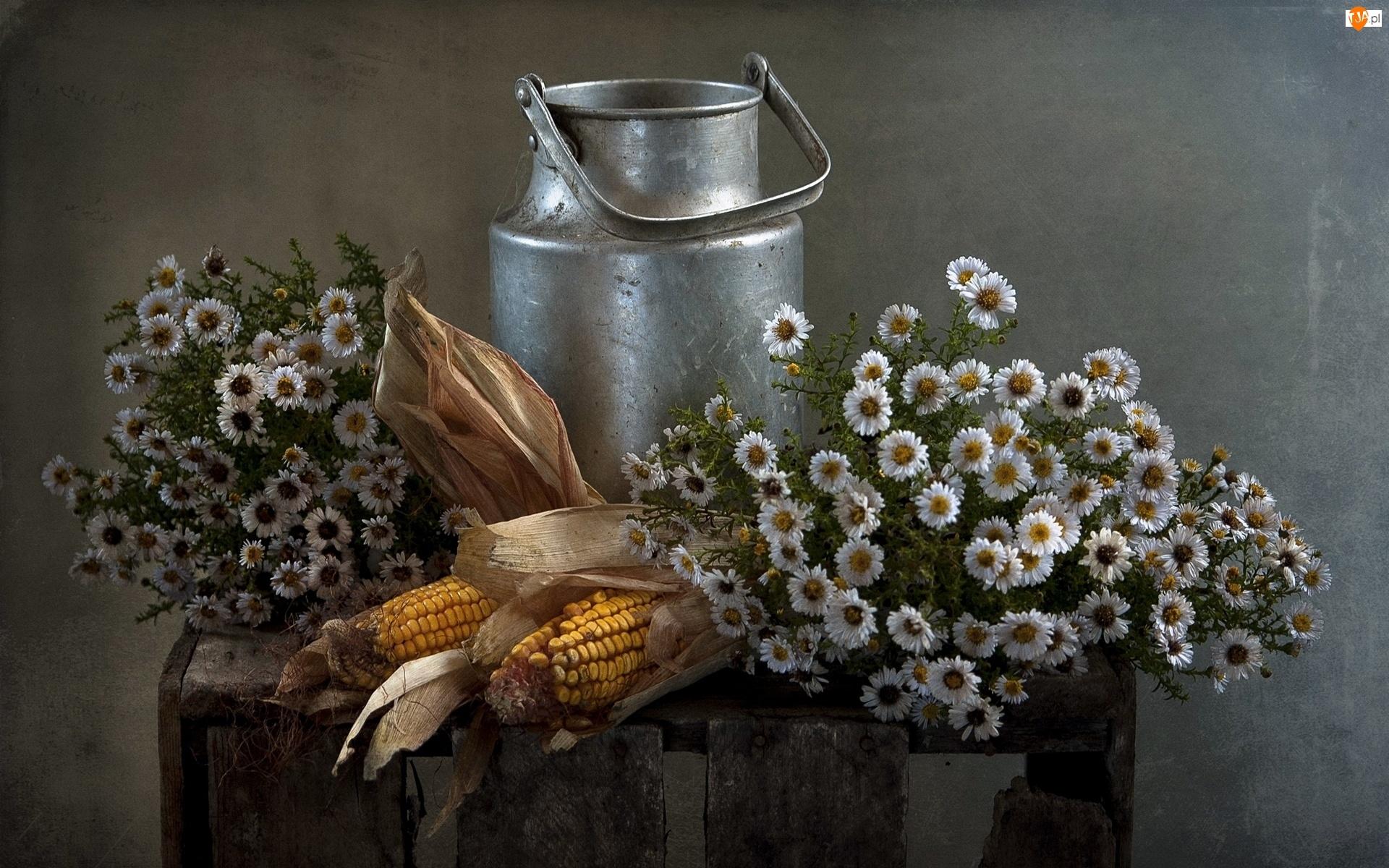Kompozycja, Bańka, Kwiaty, Kukurydza