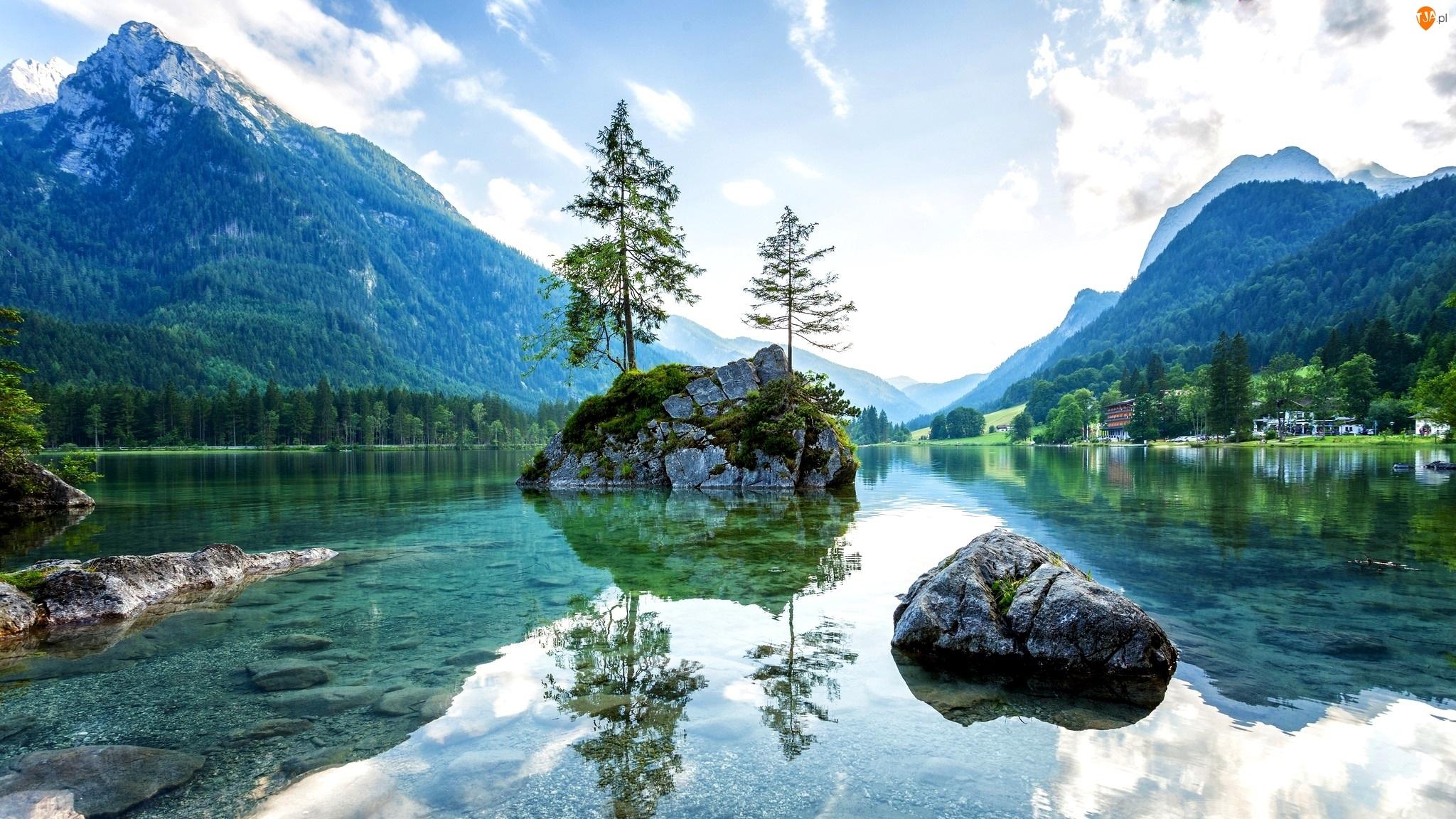 Niemcy, Alpy, Jezioro Hintersee, Wyspa, Bawaria, Góry