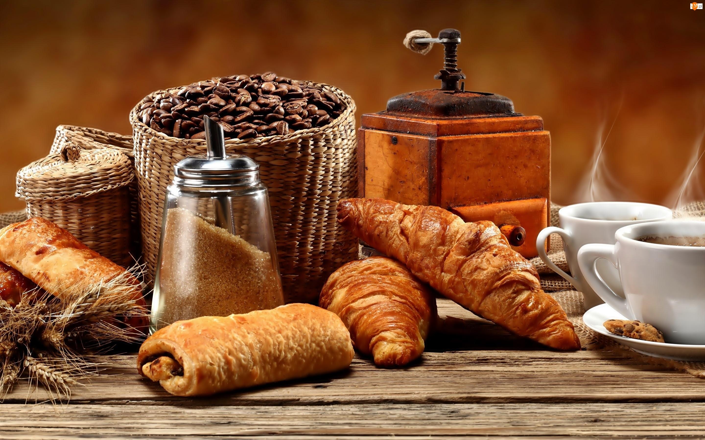 Kawa, Rogaliki, Słodkie, Bułeczki