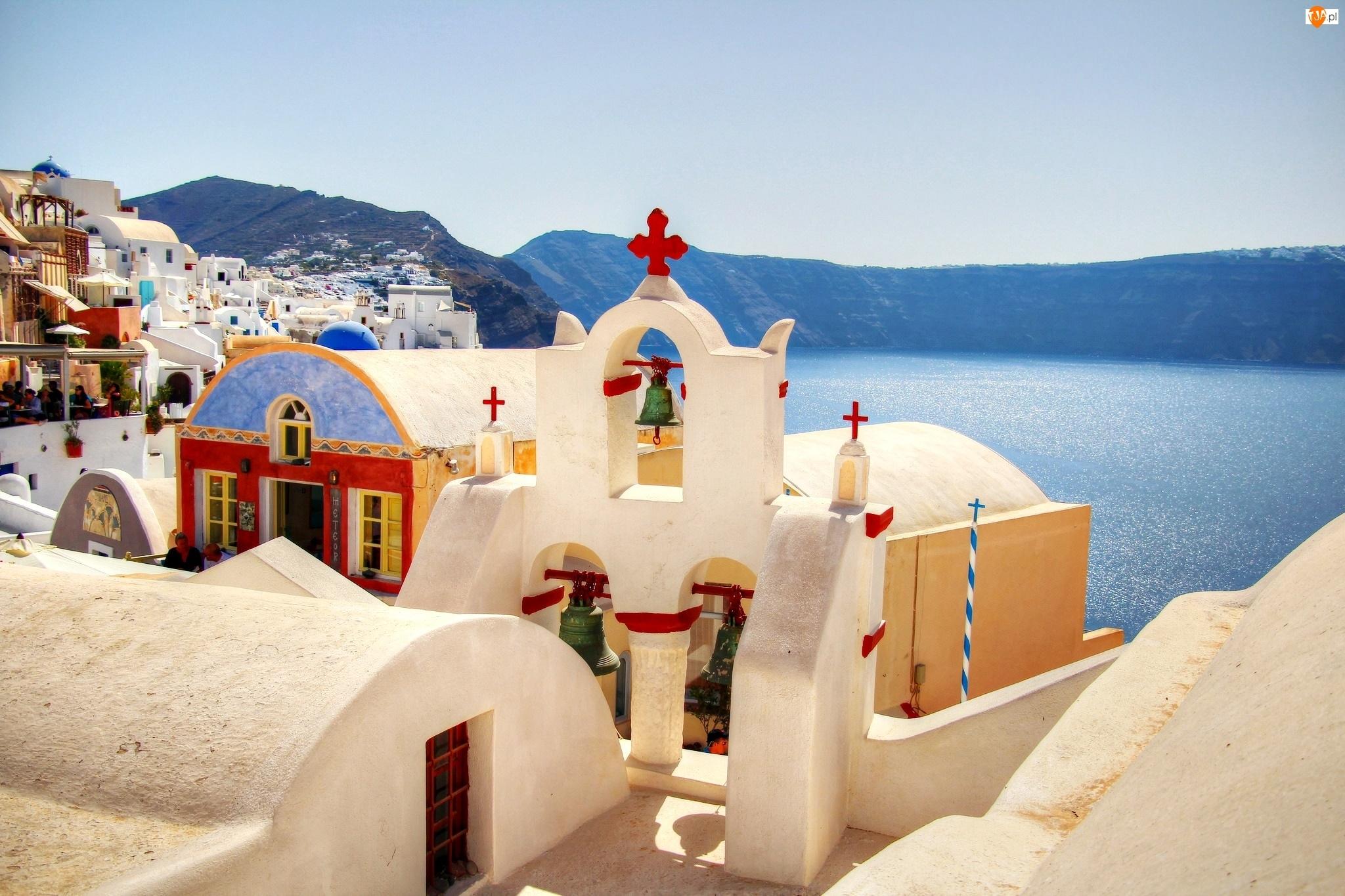 Kościoły, Grecja, Morze, Santorini, Góry