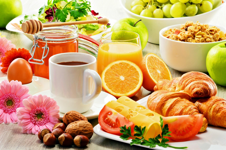 Rogaliki, Śniadanie, Owoce, Sok, Ser, Miód