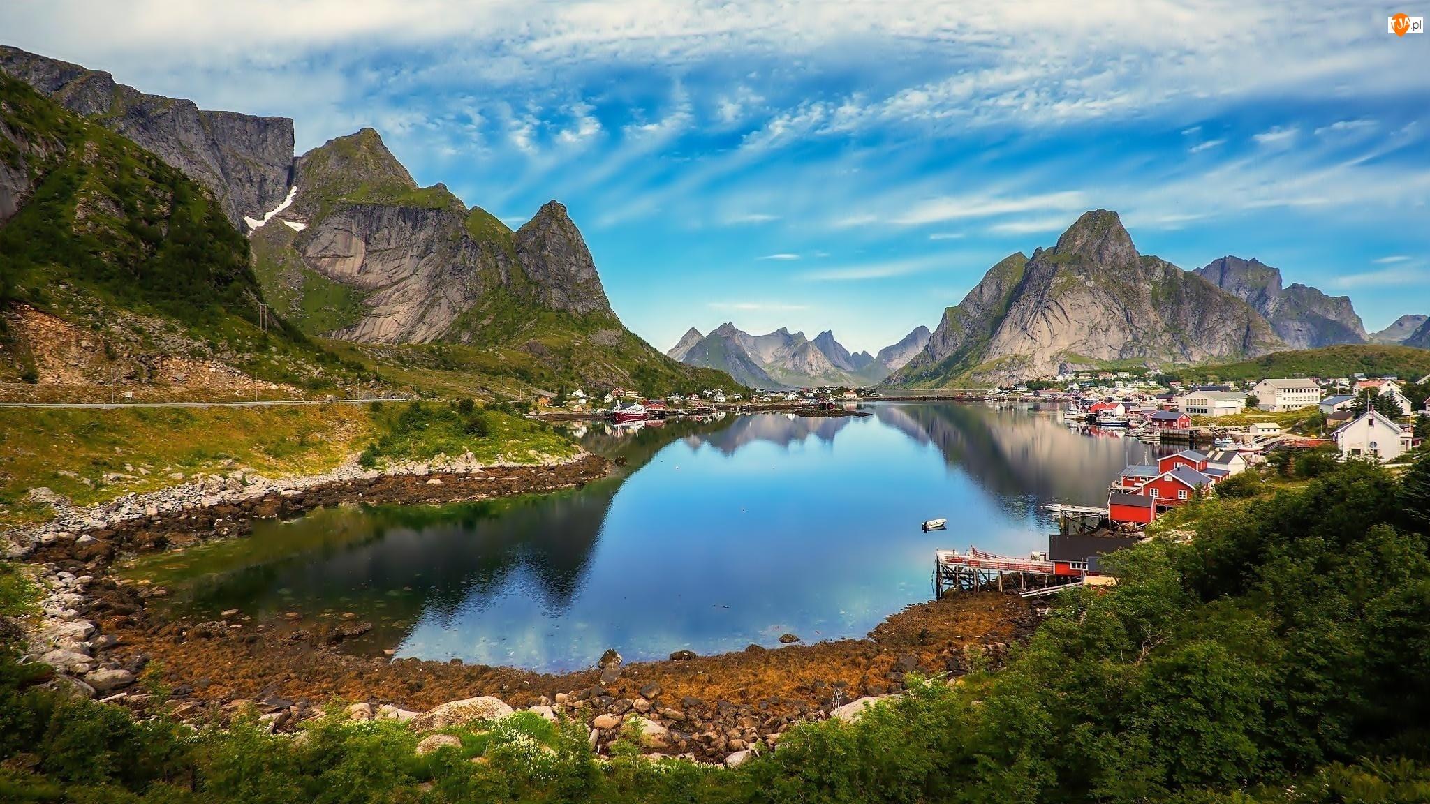 Norwegia, Lofoty, Kolorowe, Góry, Domki Rybackie