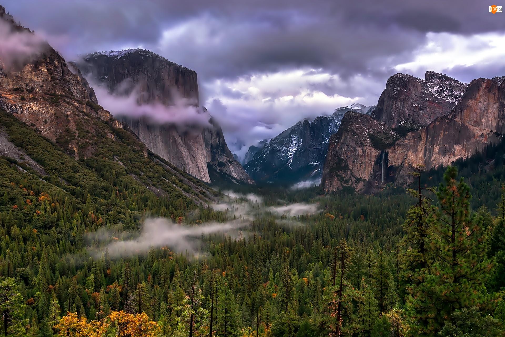 Park Narodowy Yosemite, Lasy, Stany Zjednoczone, Chmury, Stan Kalifornia, Góry