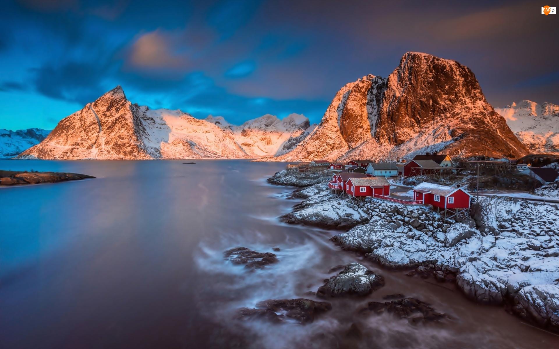 Morze, Domki Rybackie, Lofoty, Norwegia, Góry, Skały