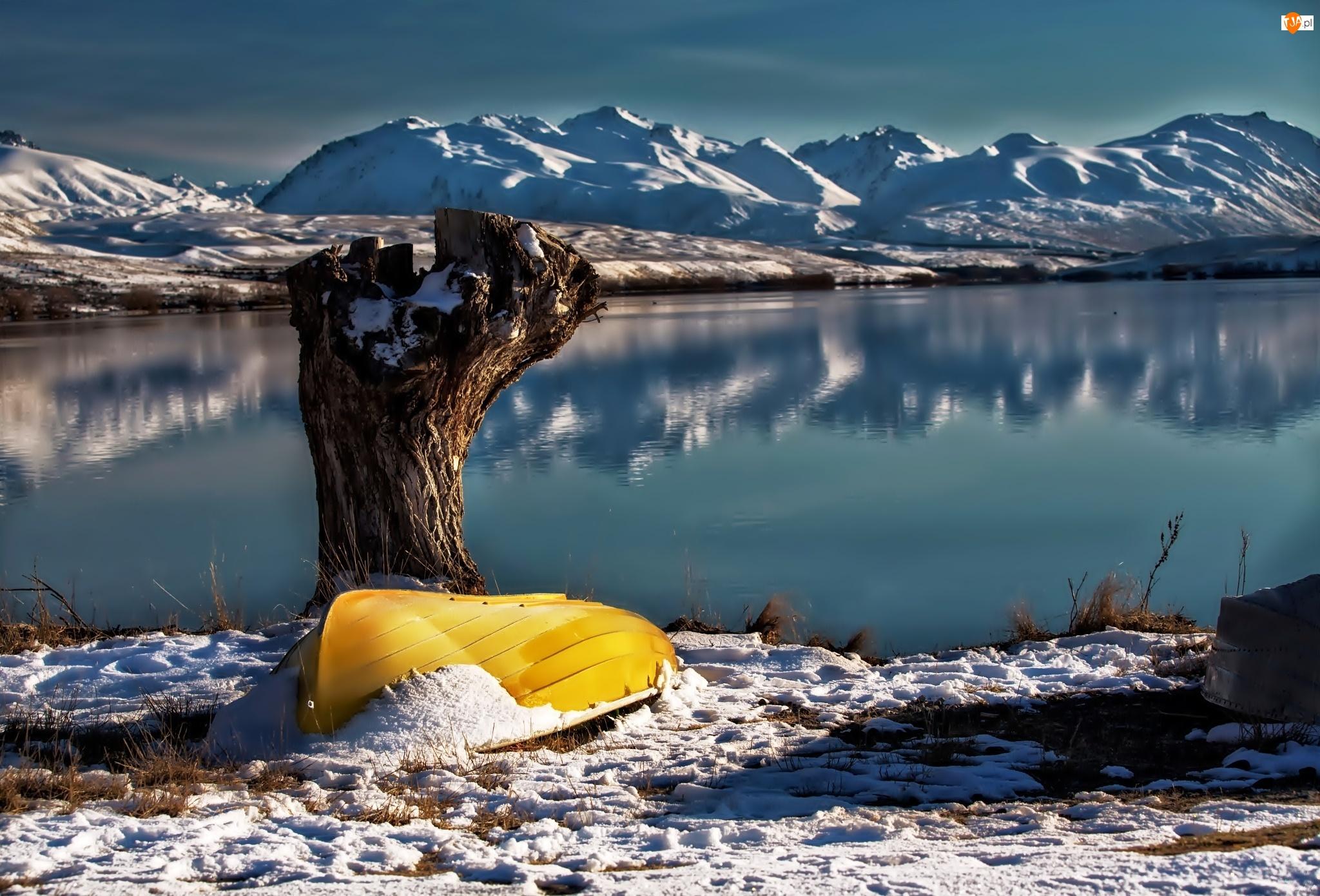 Nowa Zelandia, Zima, Jezioro, Góry, Łódka