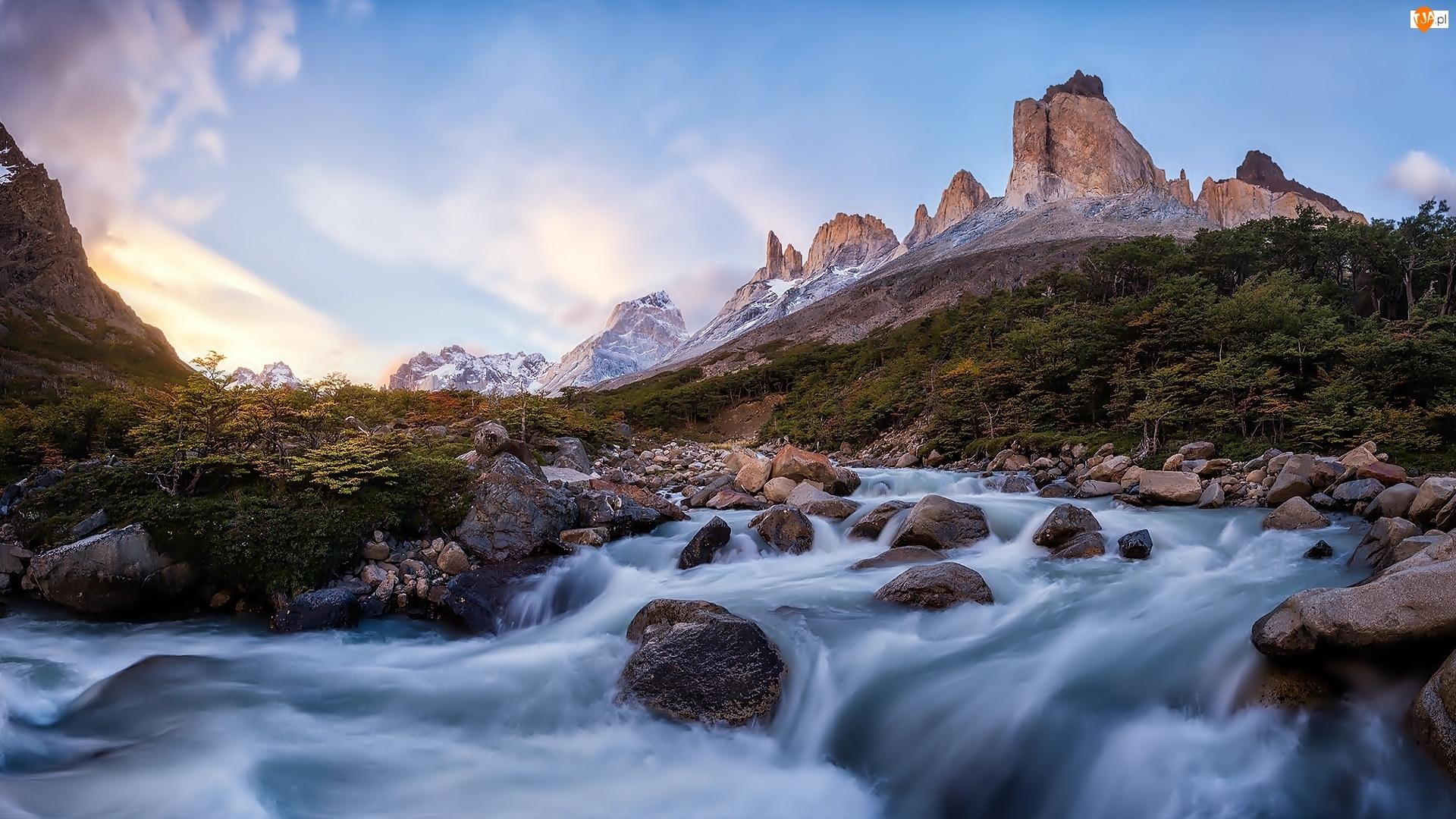 Góry, Chile, Rzeka, Kamienie