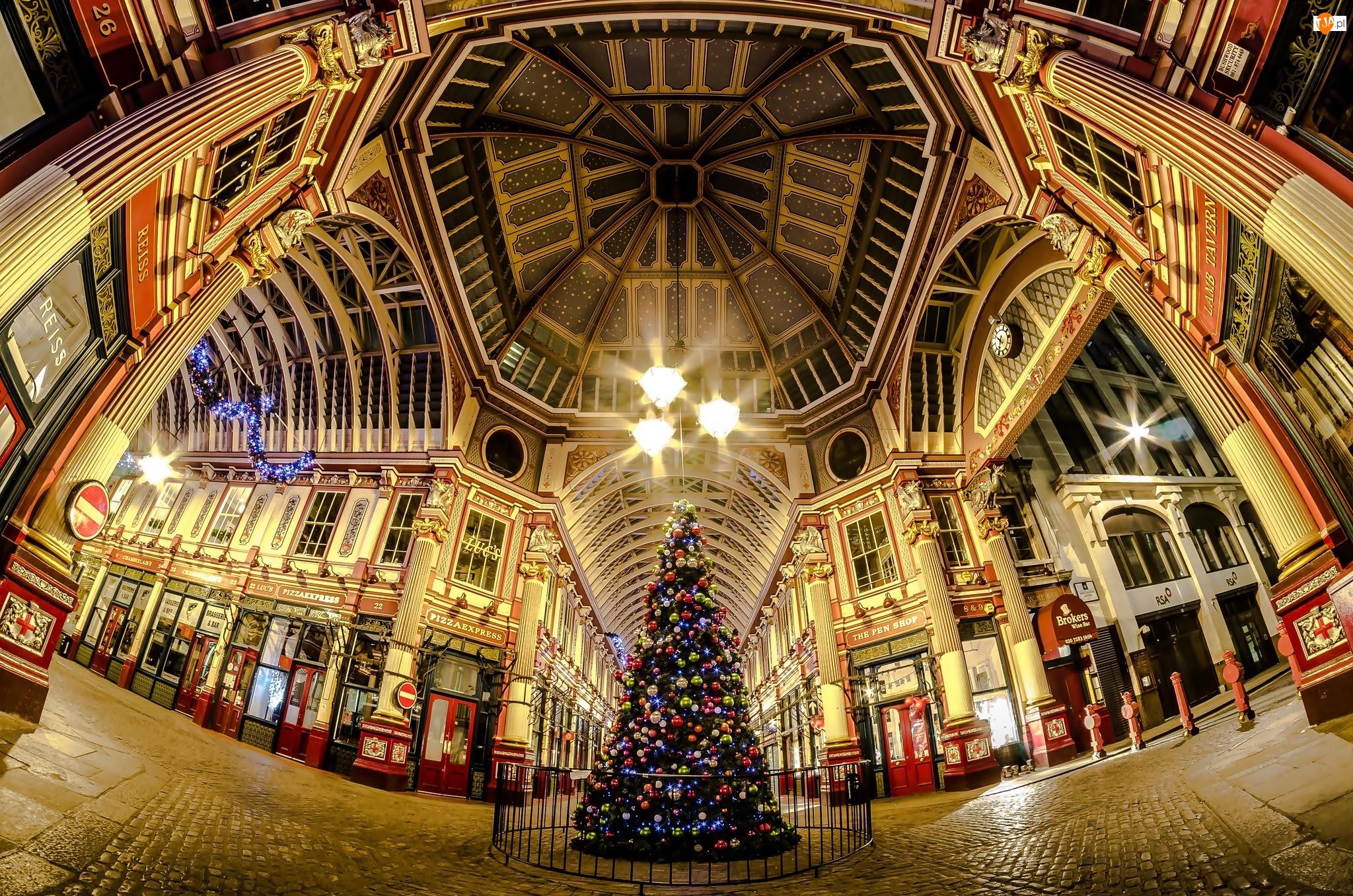 Boże Narodzenie, Londyn, Pasaż, Ulica, Choinka