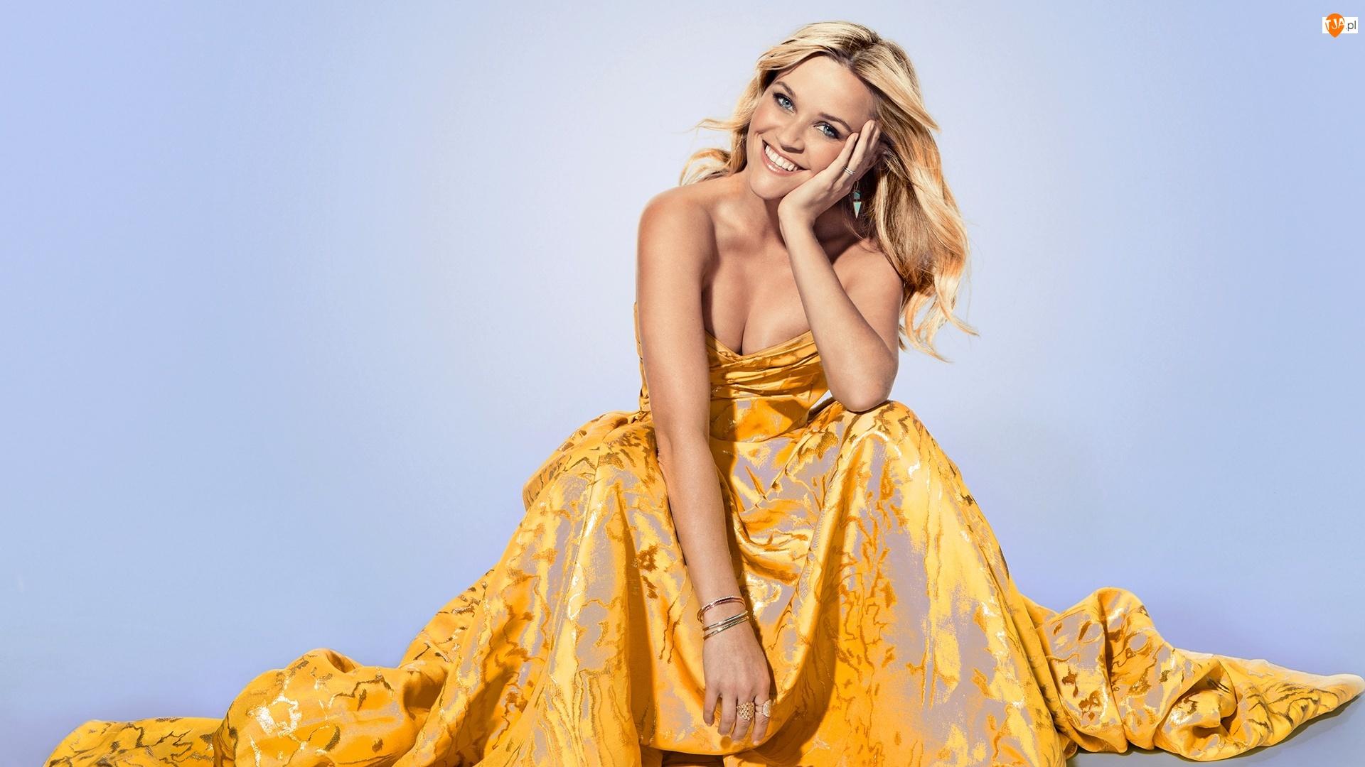 Żółta, Biżuteria, Kobieta, Reese Witherspoon, Blondynka, Suknia