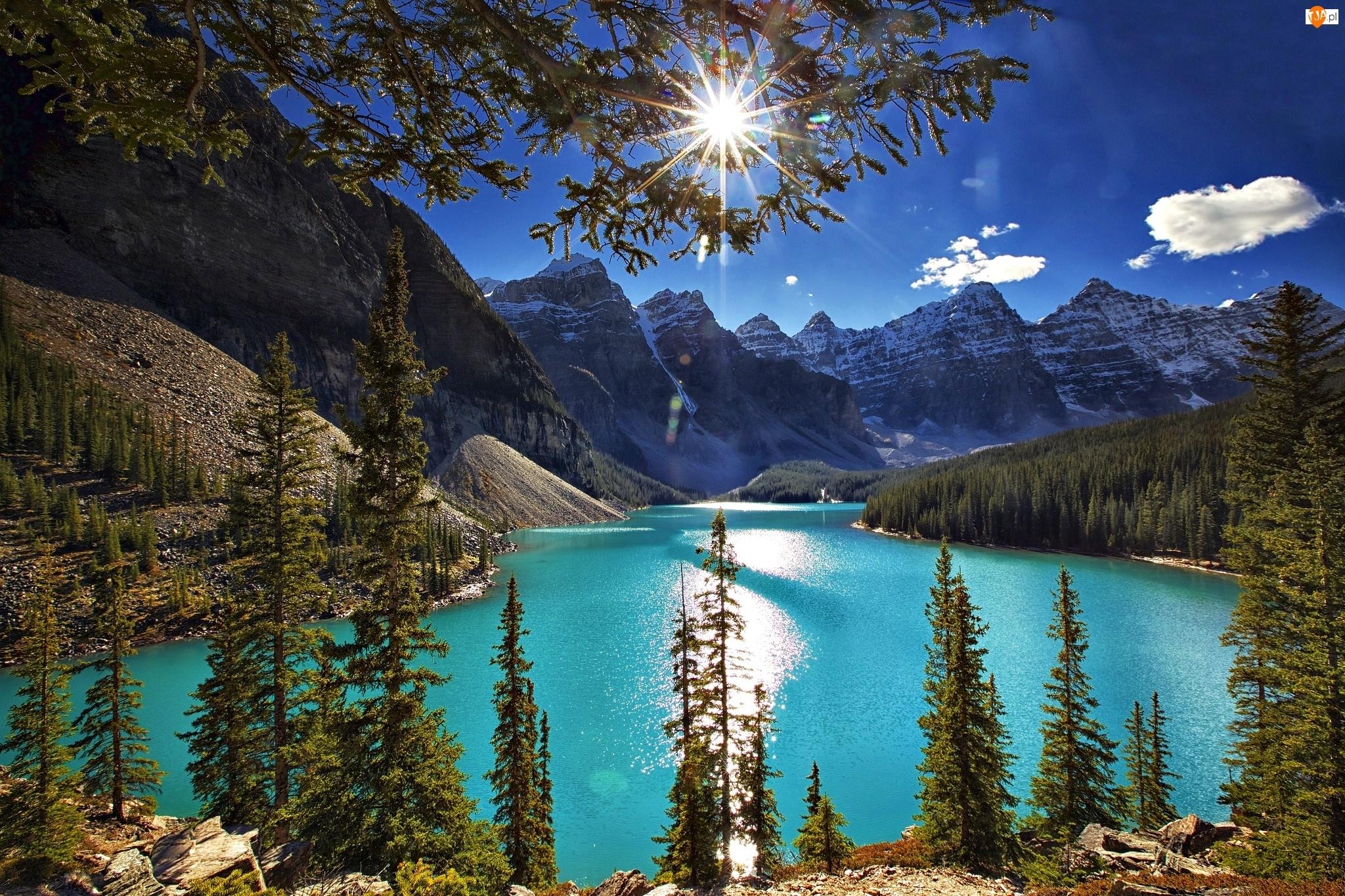 Jezioro Moraine, Góry, Alberta, Kanada
