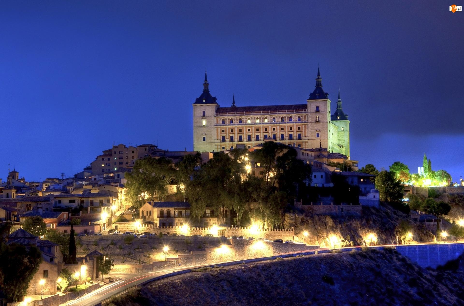 Domy, Światła, Hiszpania, Pałac Królewski Alcazar, Sewilla, Noc