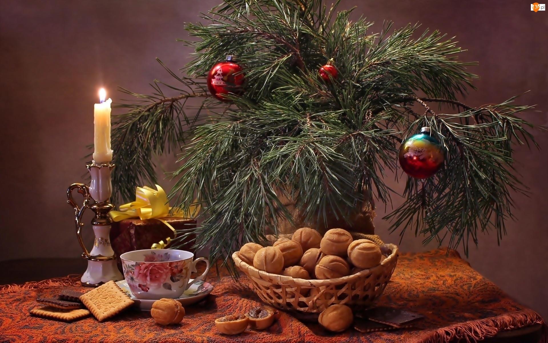 Kompozycja, Świeca, Świąteczna, Sosny, Bombki, Gałęzie, Smakołyki, Flakon, Herbata