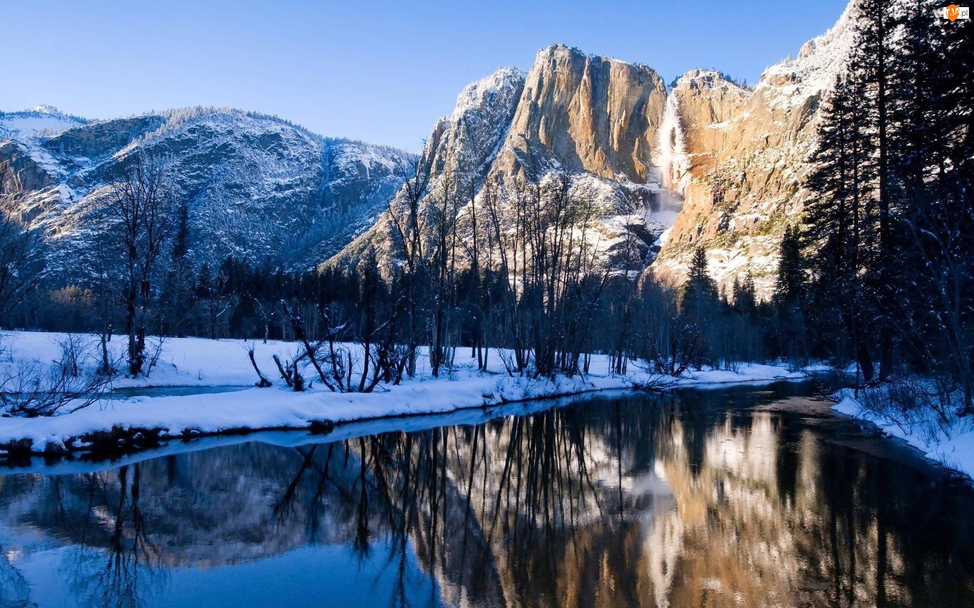 Park Narodowy Yosemite, Rzeka, Stany Zjednoczone, Zima, Stan Kalifornia, Góry