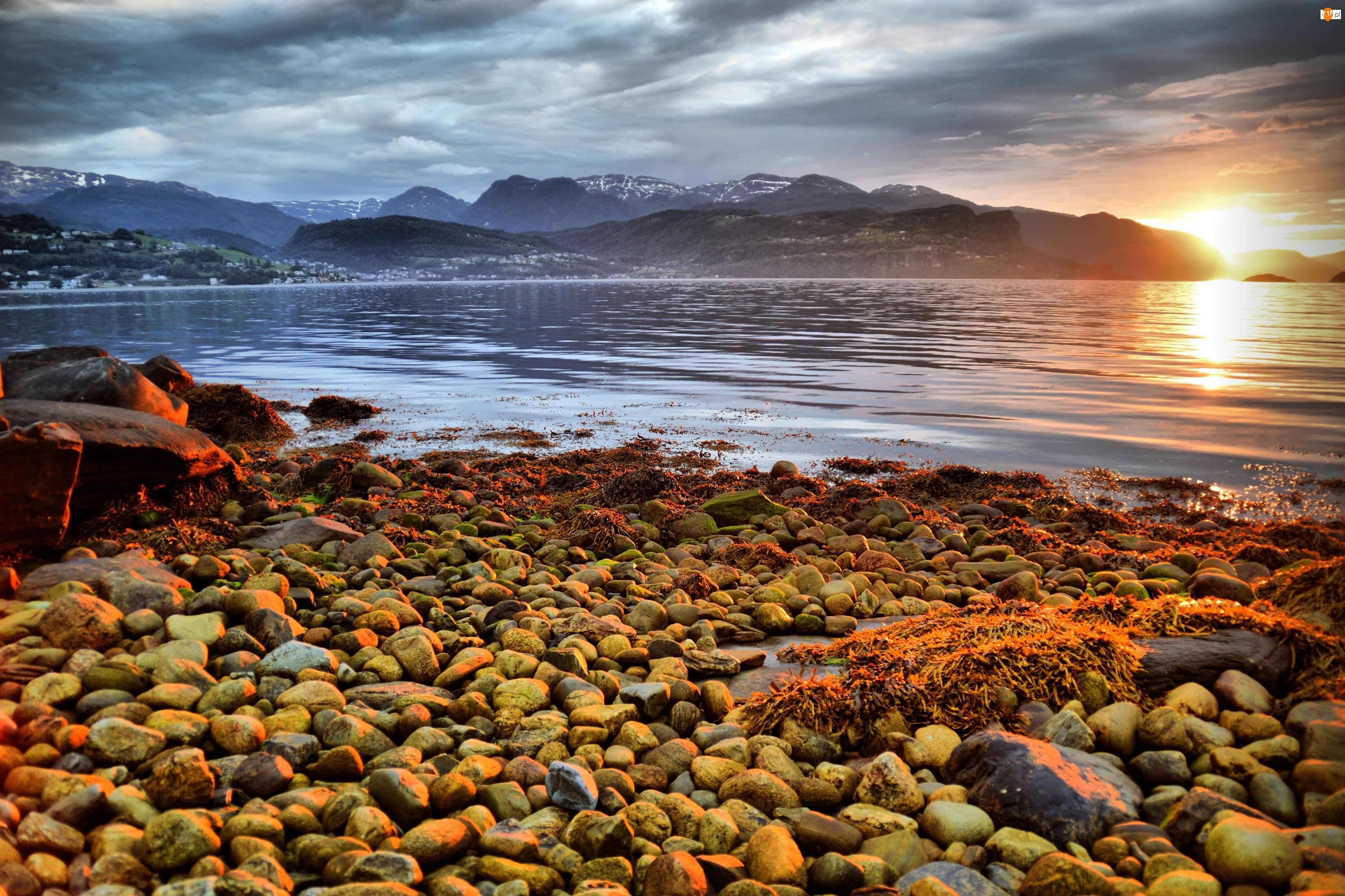 Góry, Norwegia, Wschód słońca, Kamienie