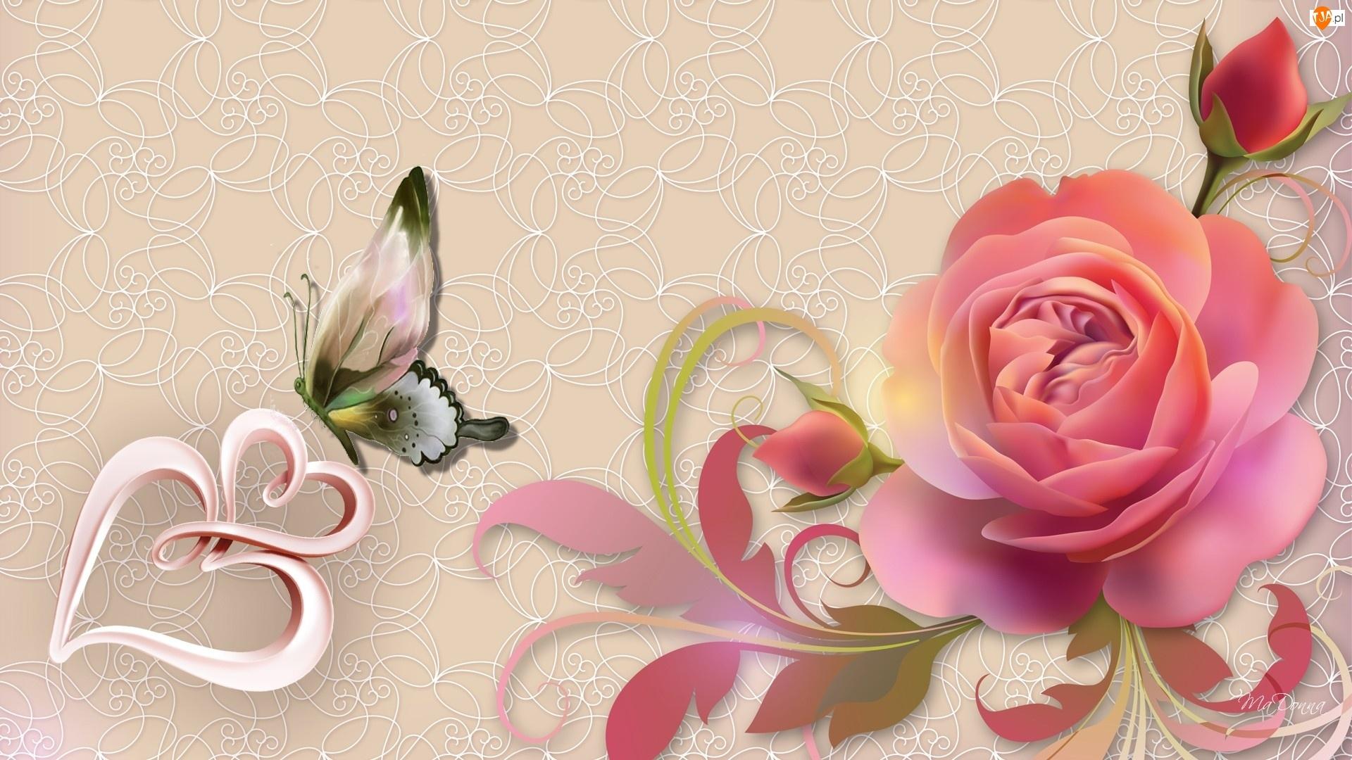 Róża, Serca, Motyl