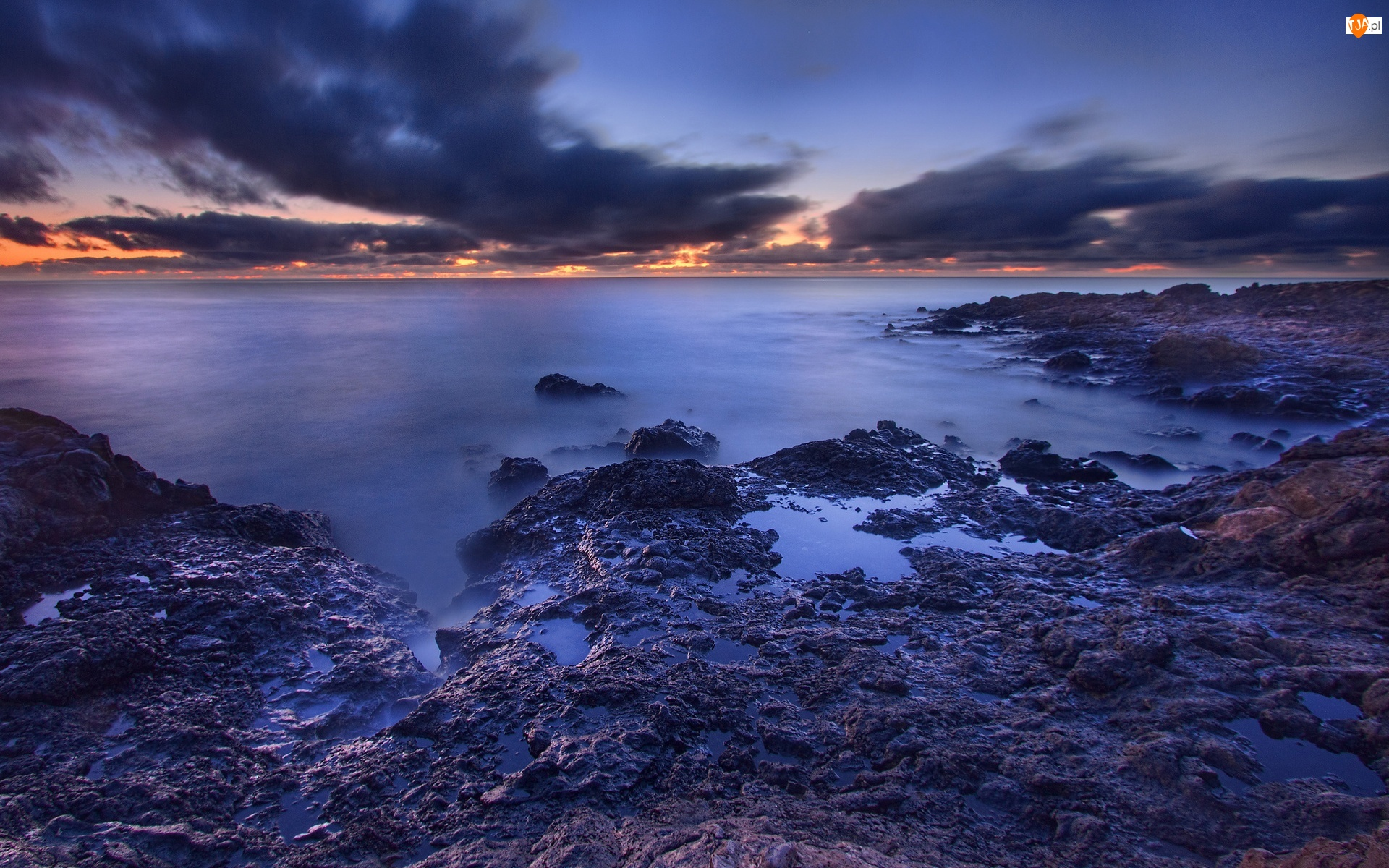 Morze, Wschód Słońca, Brzeg, Chmury
