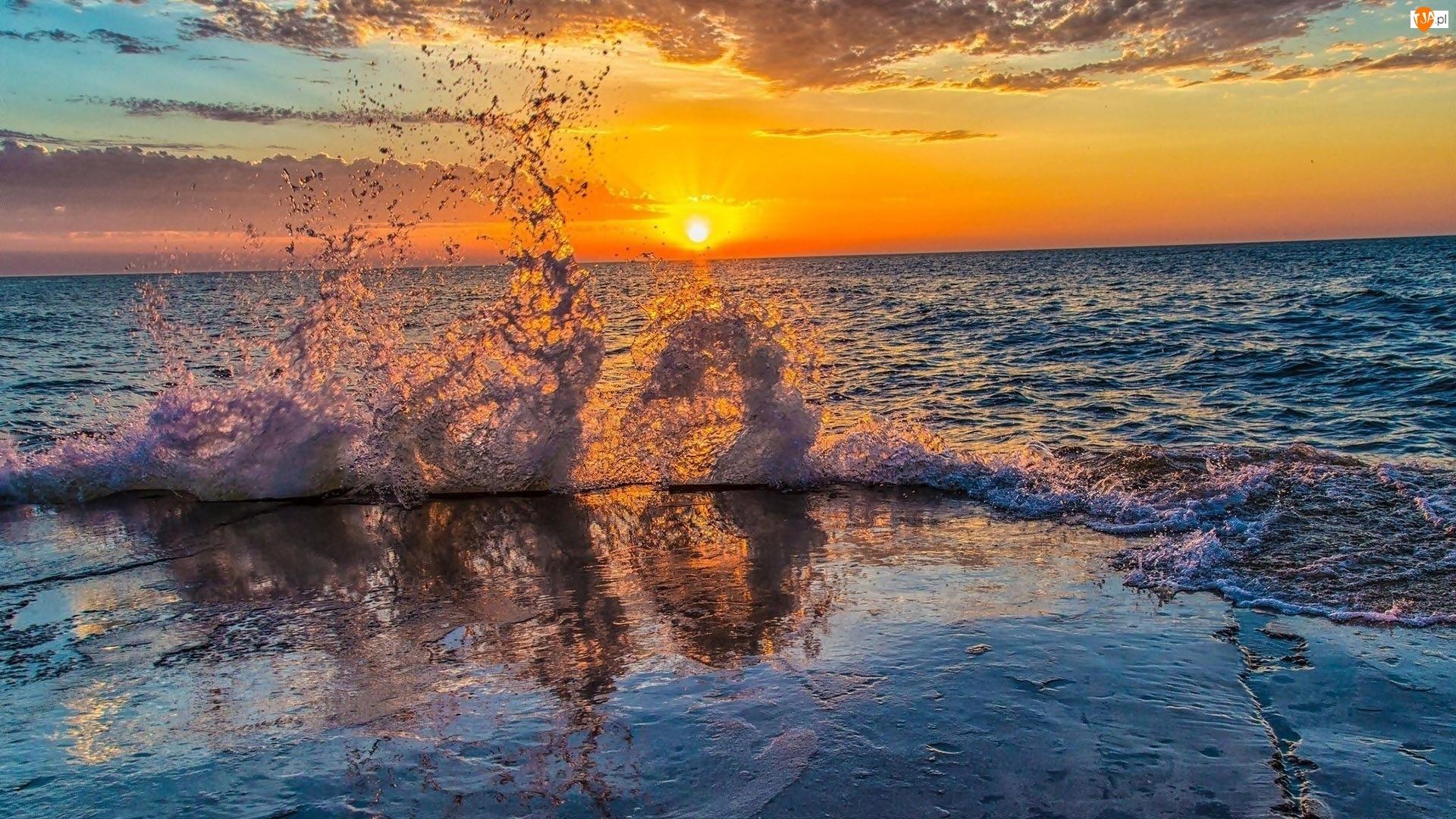 Morze, Słońca, Fala, Zachód
