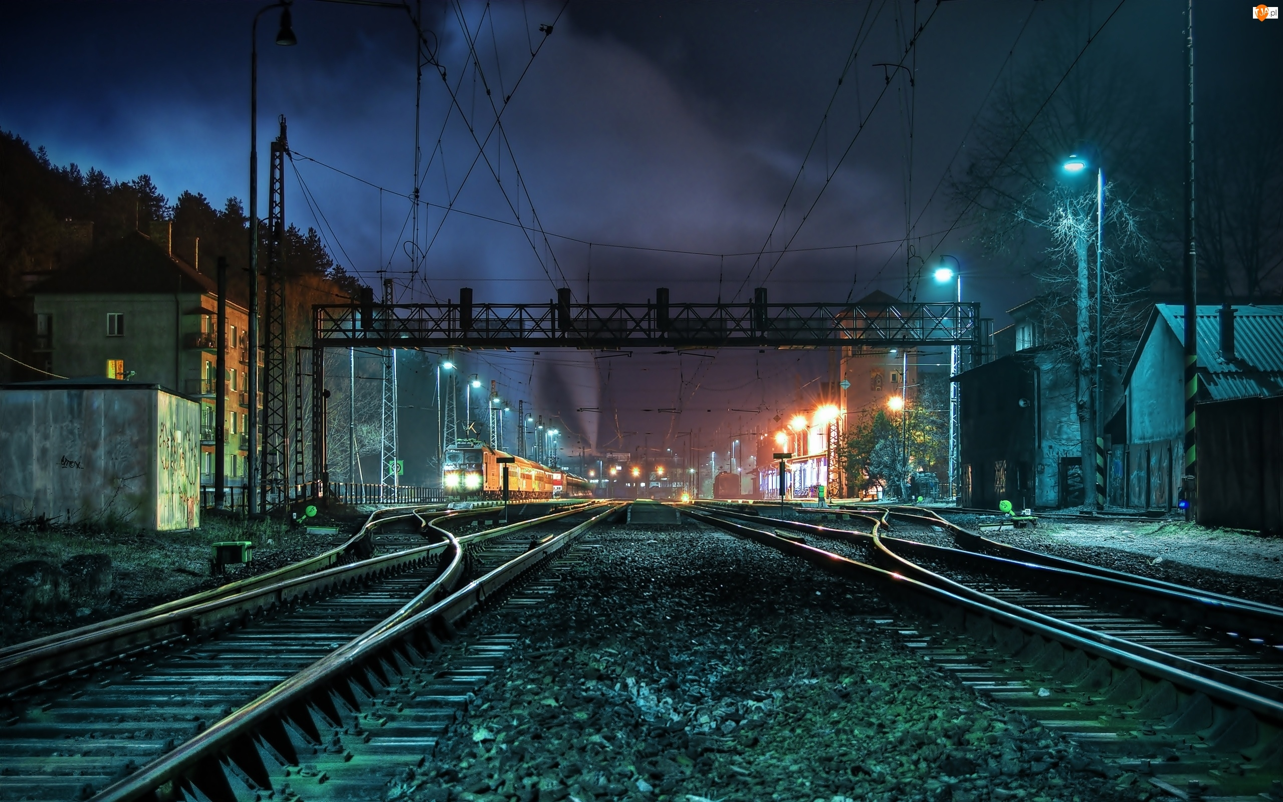 Oświetlenie, Dworzec, Tory, Kolejowy, Noc