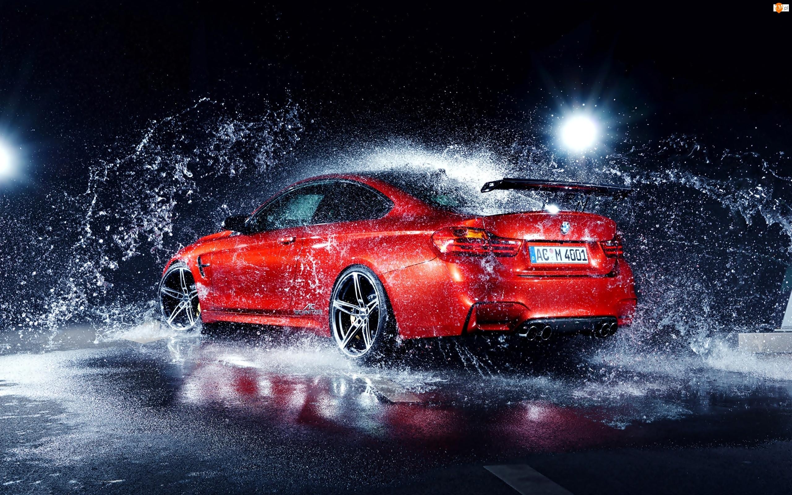 Krople, M4, Samochód, Czerwony, Rozbryzg, BMW, Woda