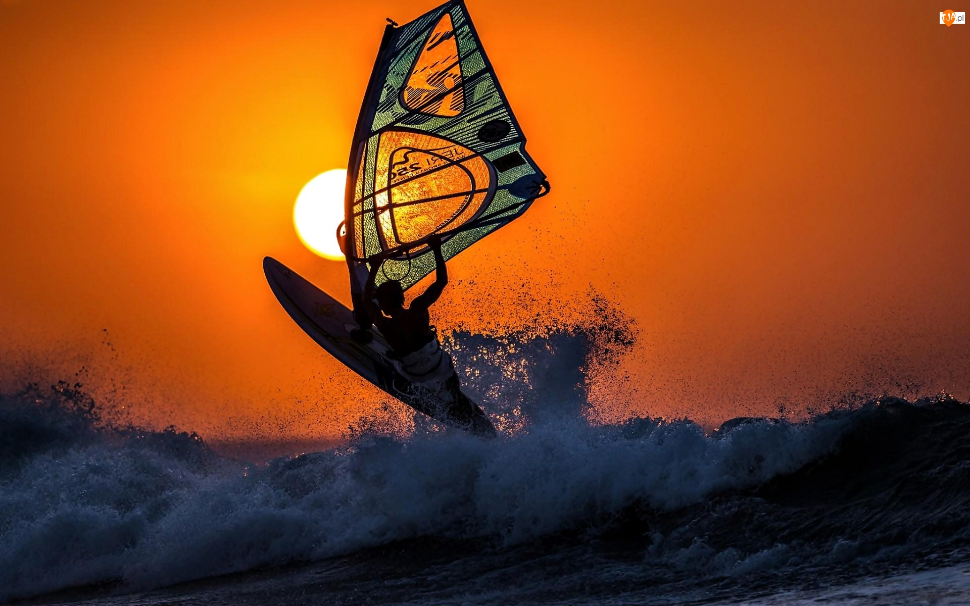 Windsurfing, Słońca, Morze, Zachód