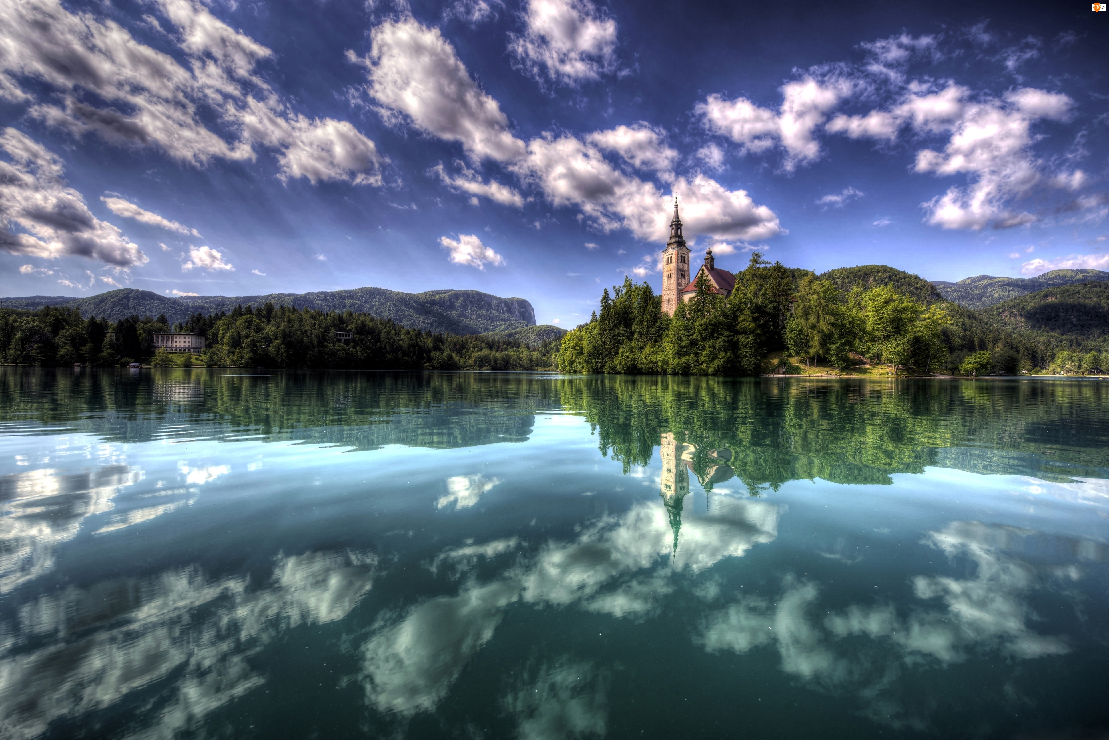 Bled, Obłoki, Wyspa, Słowenia, Na Jeziorze, Kościół