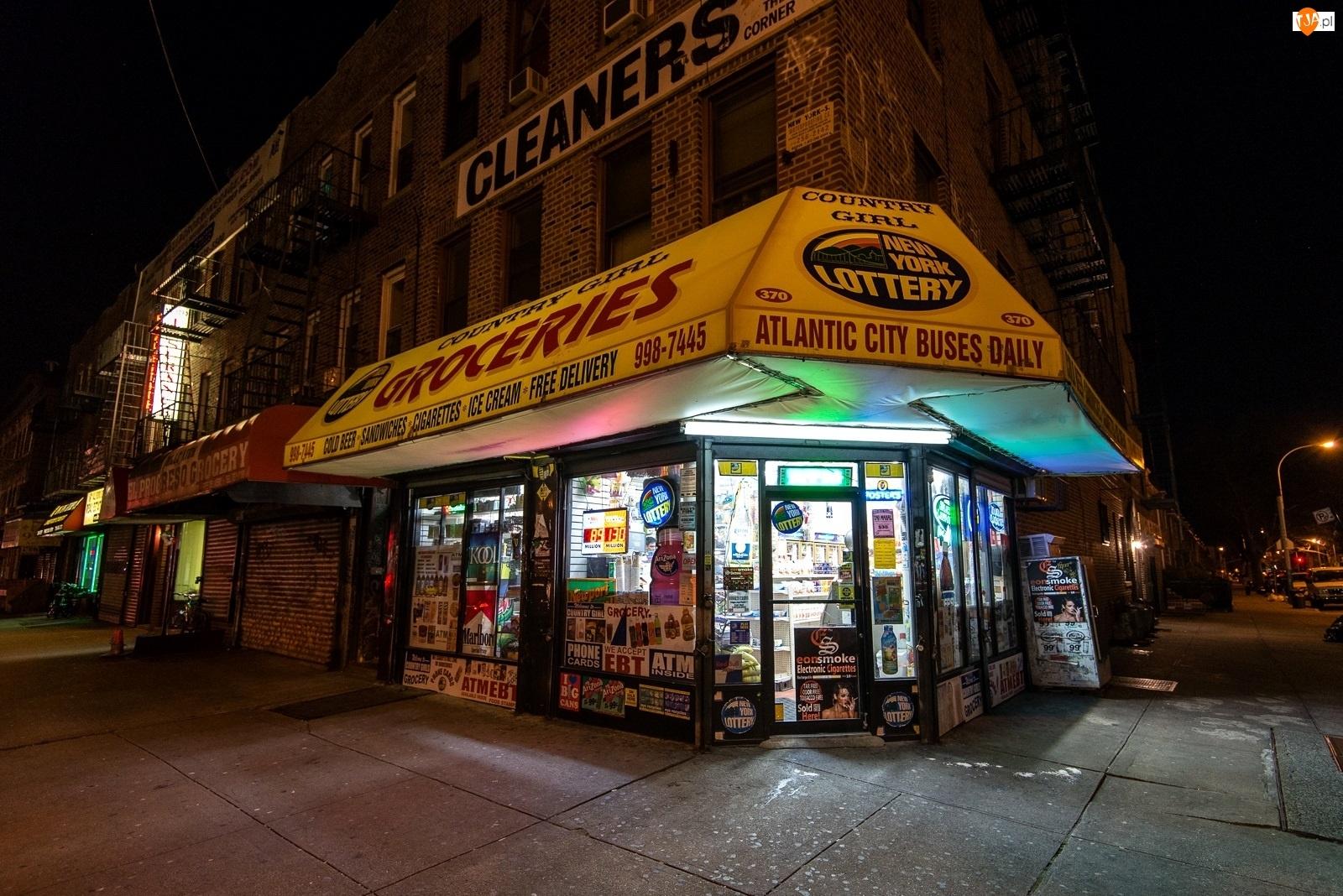 Ulica, Nowy Jork, Noc, Brooklyn