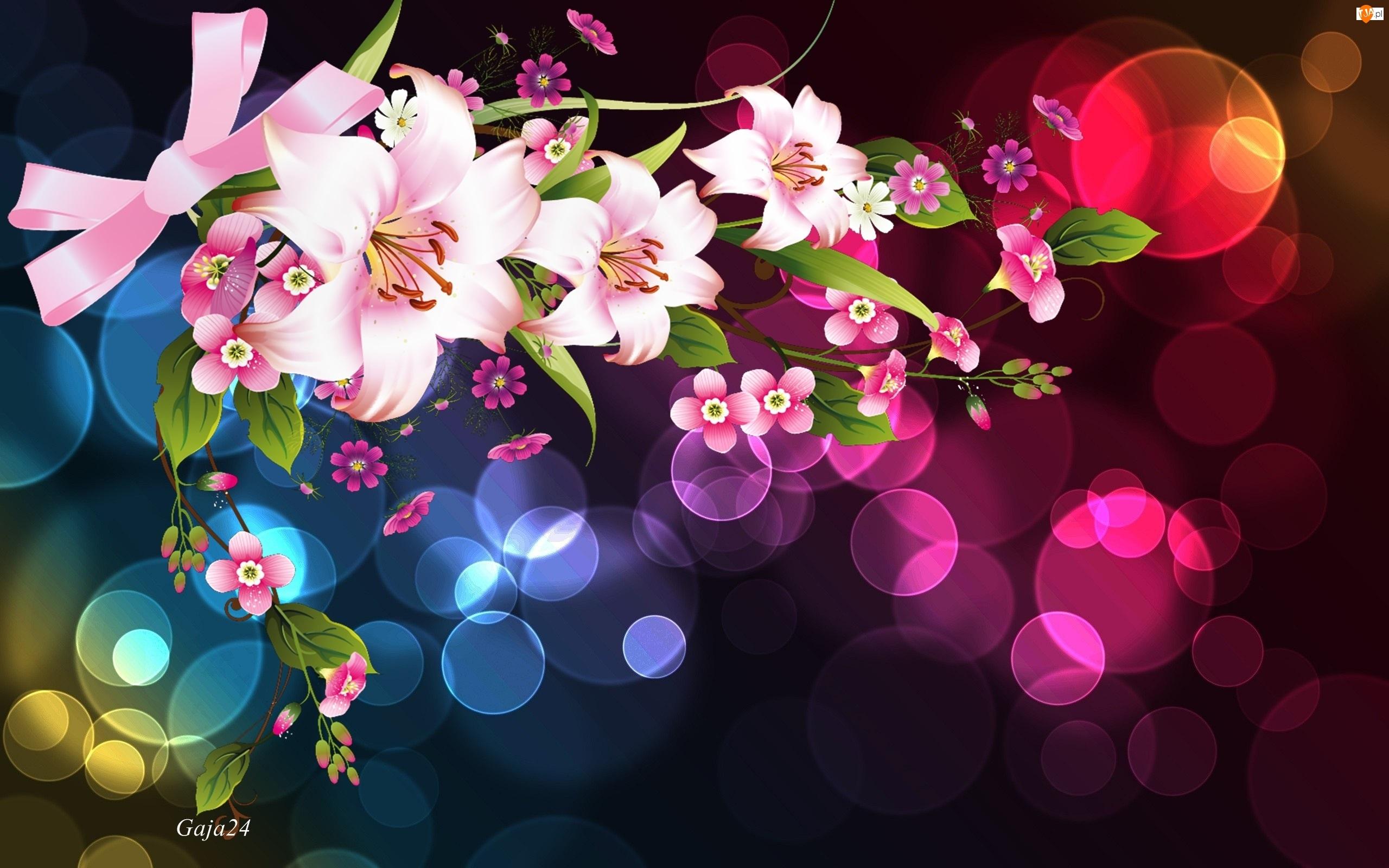 Bokeh, Różowe, Kwiaty