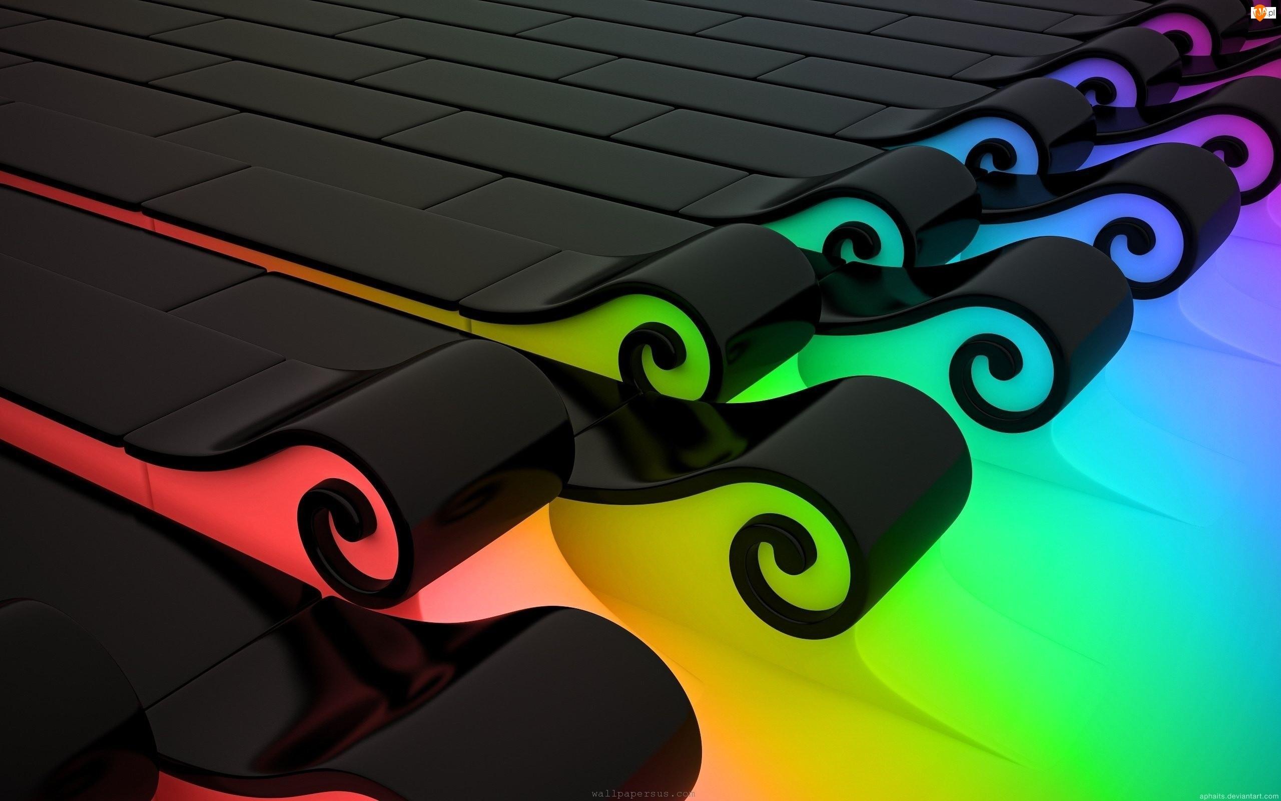 Kolory, Abstrakcja, 3D, Fala