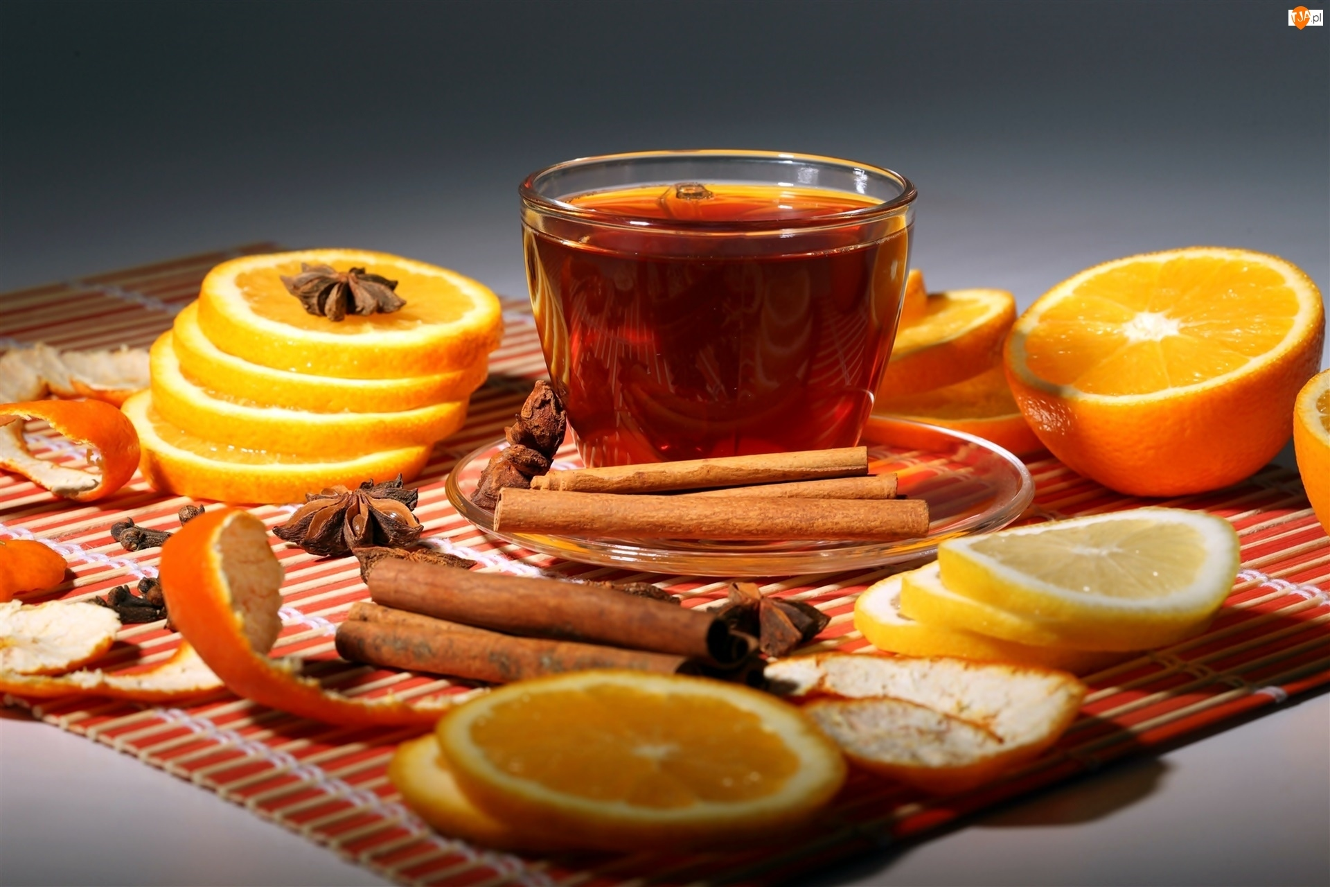 Herbaty, Filiżanka, Pomarańcza, Karambola, Cytryna, Cynamon