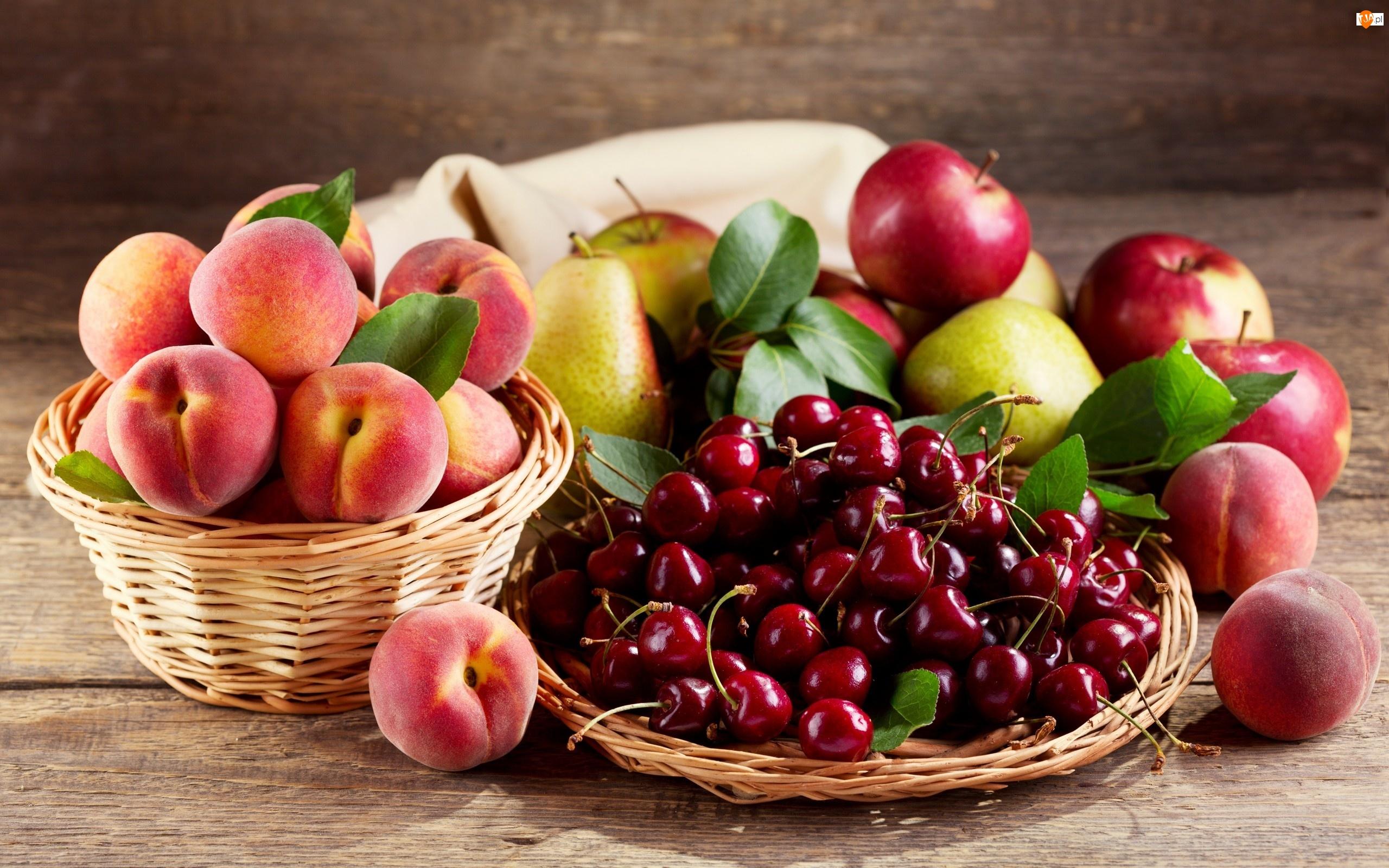 Owoce, Brzoskwinie, Jablka, Czeresnie