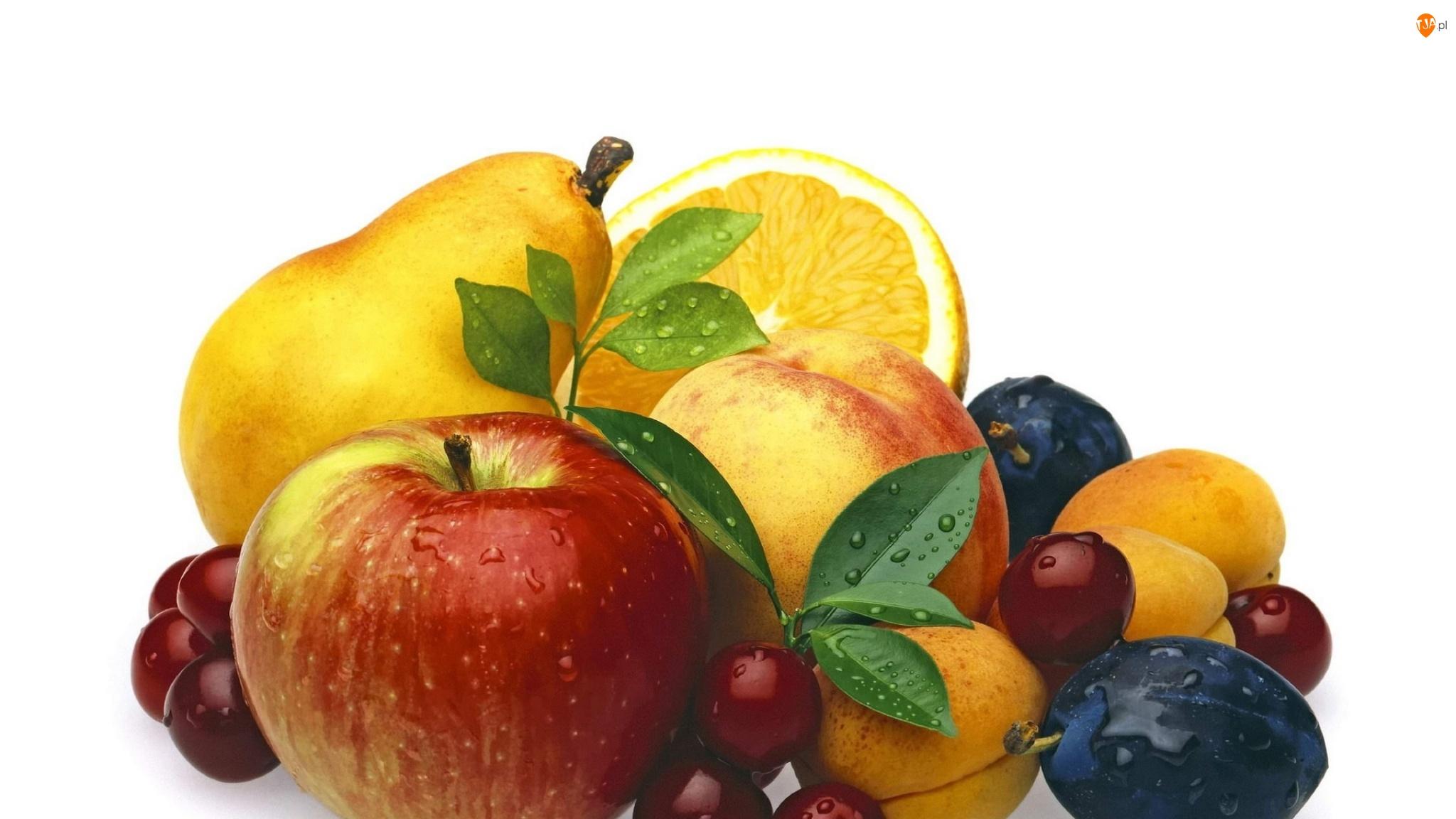 Listki, Pomarańcza, Śliwki, Jabłka, Krople, Winogrona, Brzoskwinie