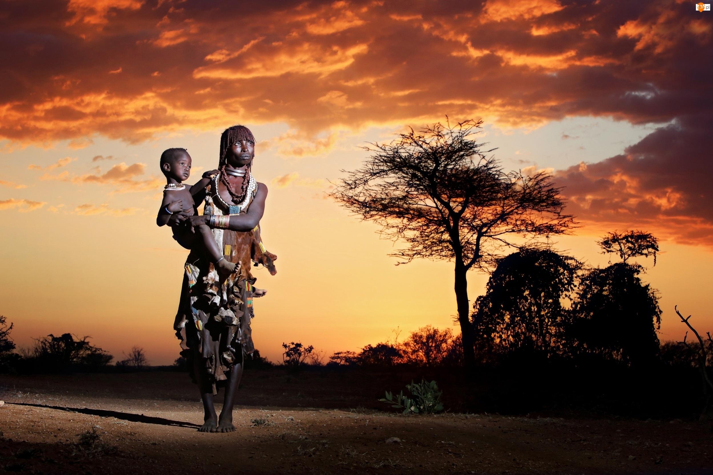 Afrykańska Kobieta, Niebo, Dziecko, Drzewo