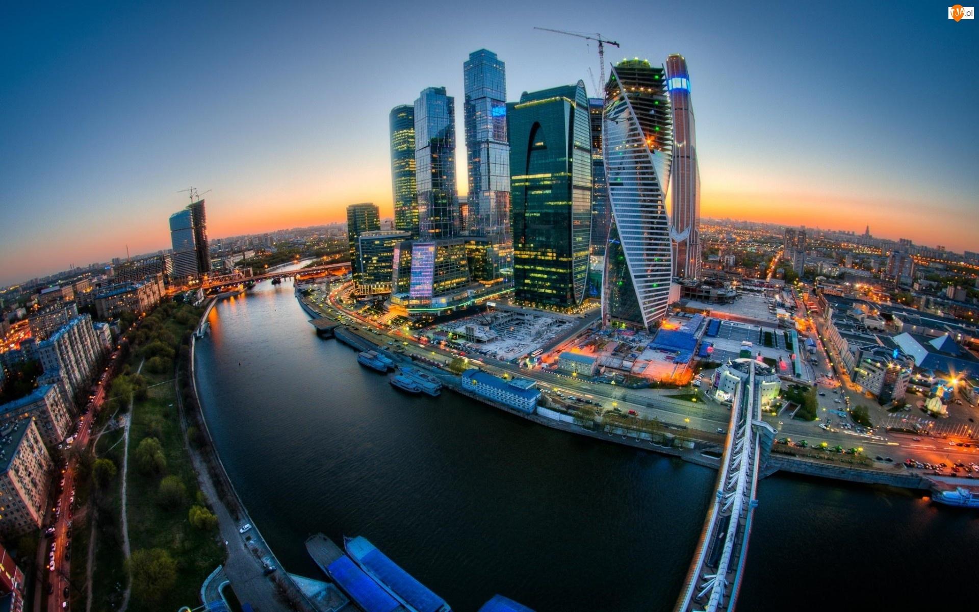 Panorama, Wschód, Rosja, Chmur, Mosty, Drapacze, Moskwa, Rzeka, Słońca