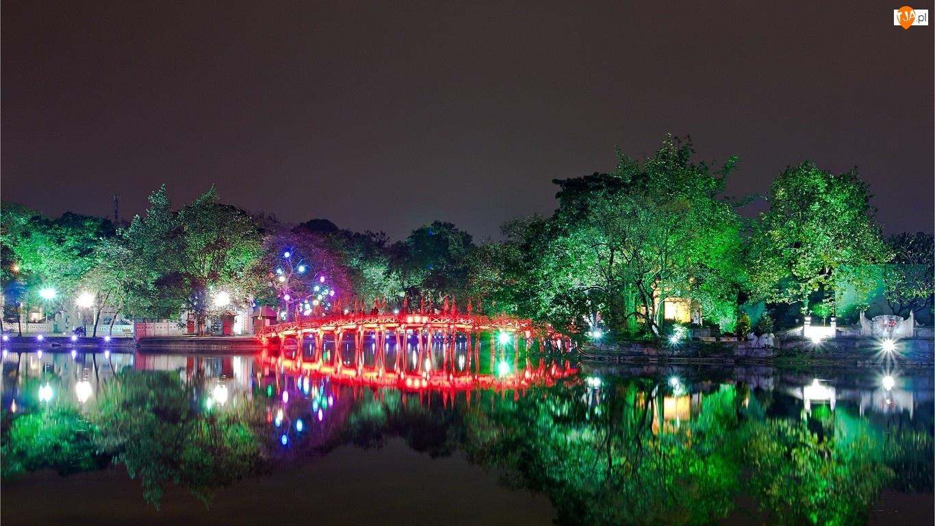 Rzeka, Drzewa, Wietnam, Noc, Hanoi, Mostek