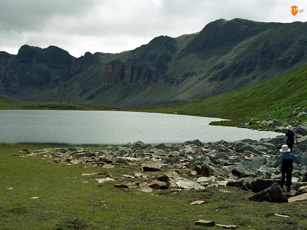 zielona, Góry, Jezioro, Kamienie, trawa