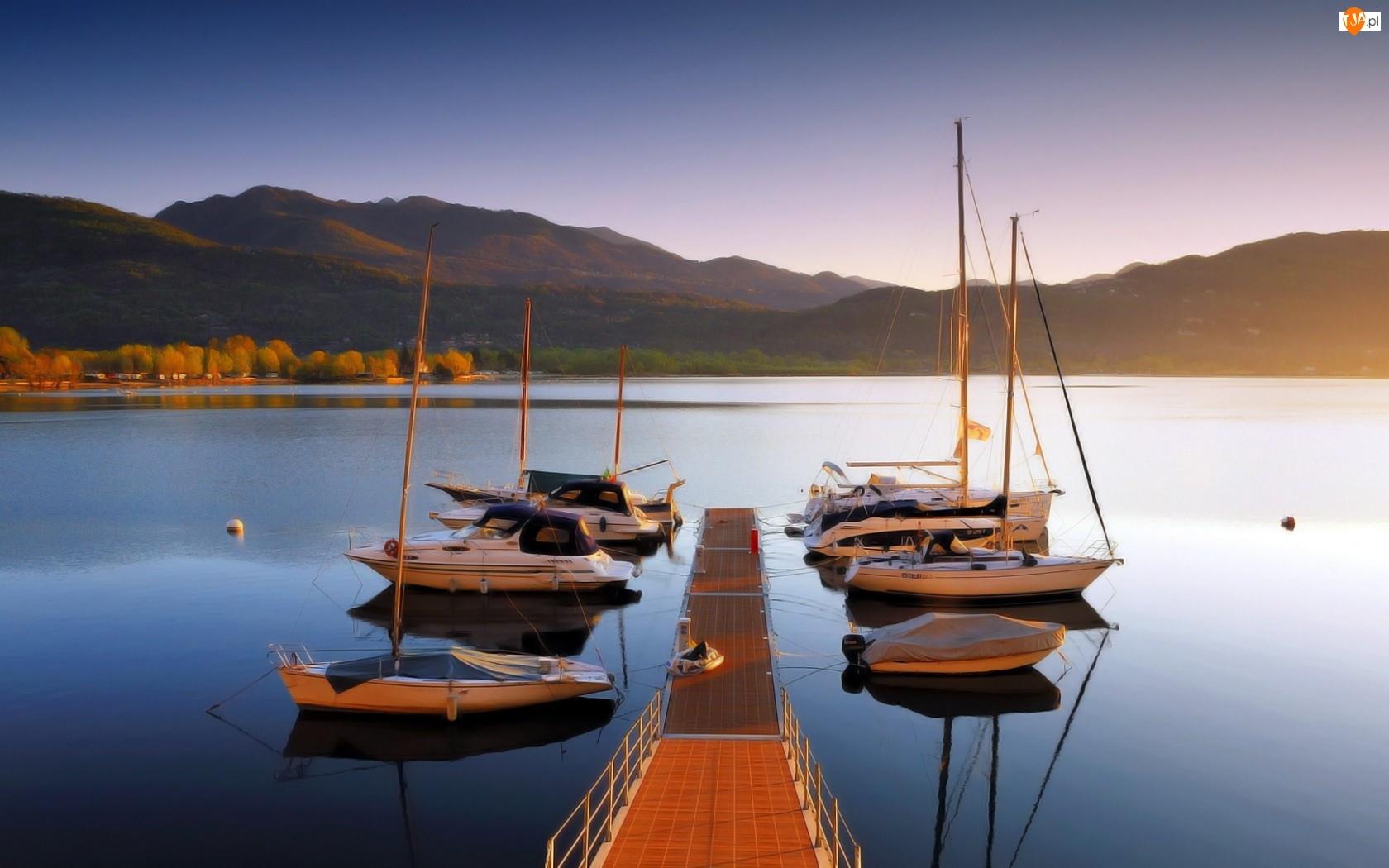 Jezioro, Pomost, Góry, Motorówki