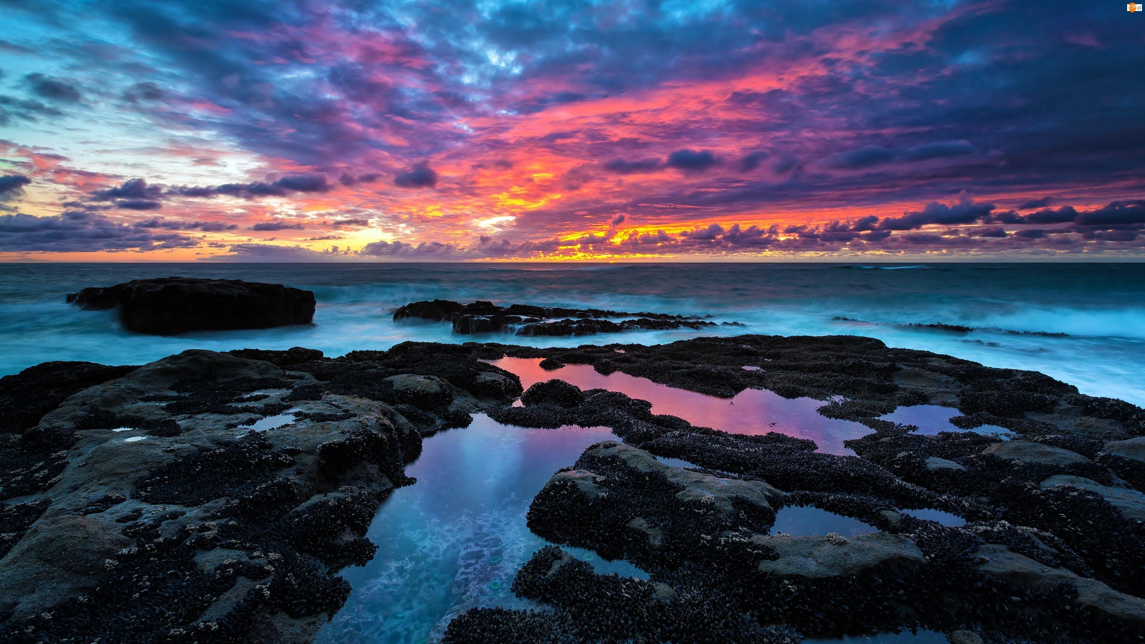 Morze, Chmury, Zachód Słońca