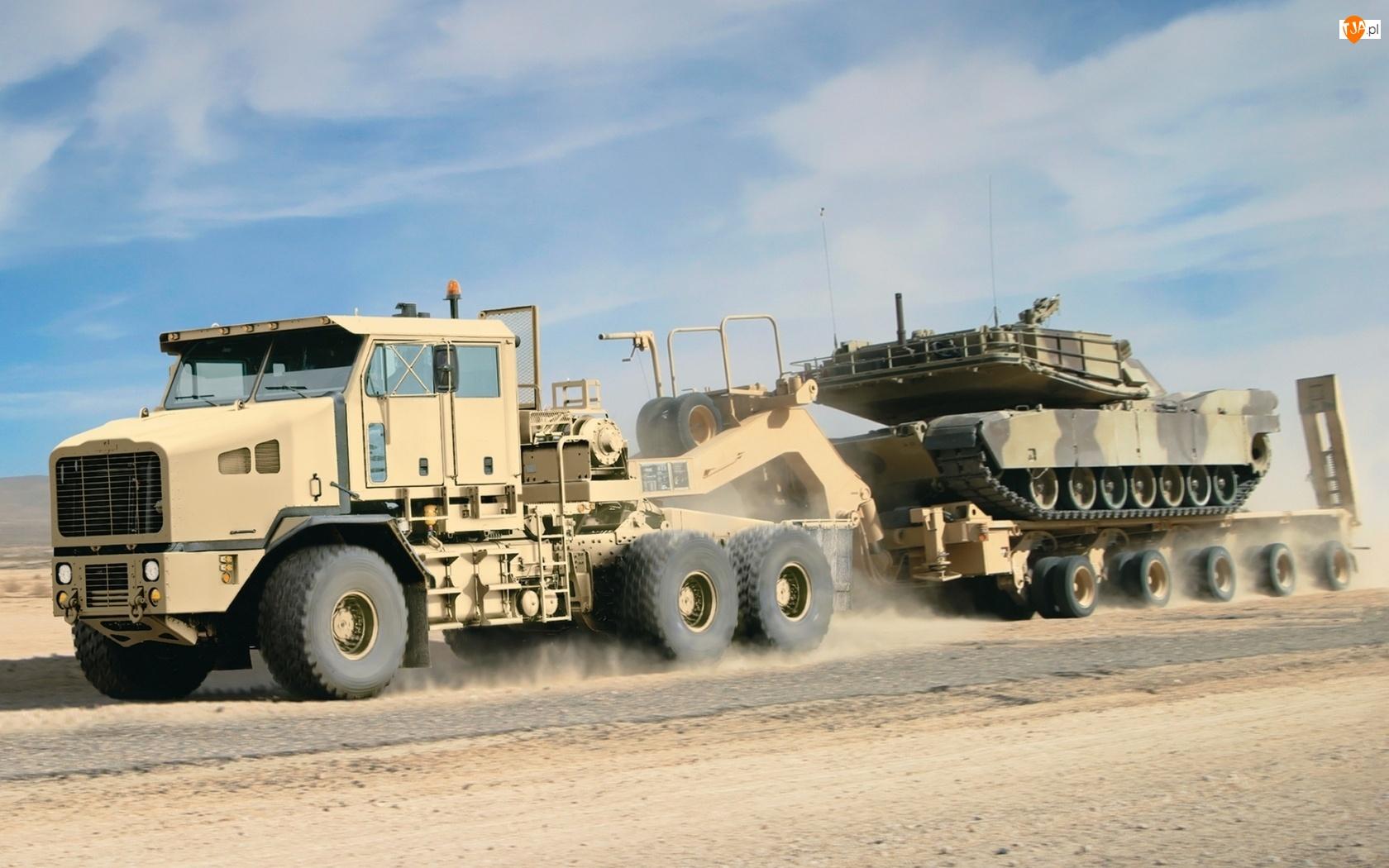 Ciężarówka, Pustynia, Wojskowa, Czołg