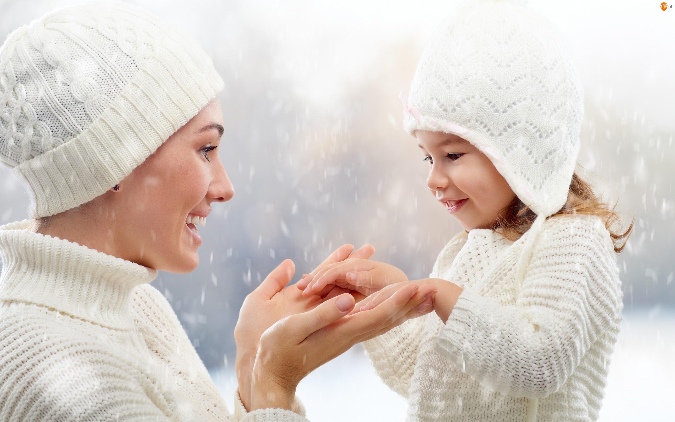 Usmiech, Kobieta, Białe, Dziecko, Czapki