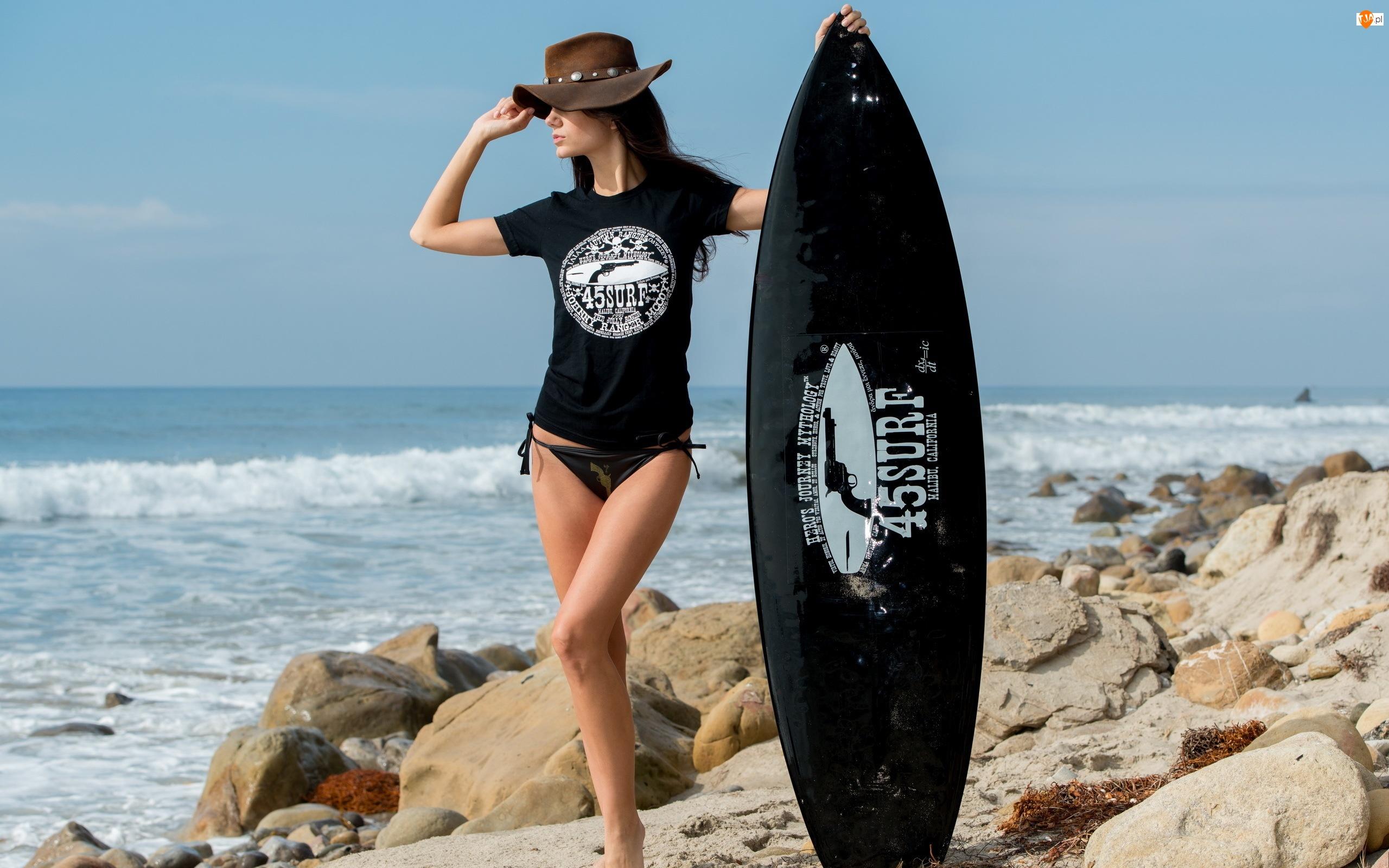Skały, Dziewczyna, Surfingowa, Deska, Morze